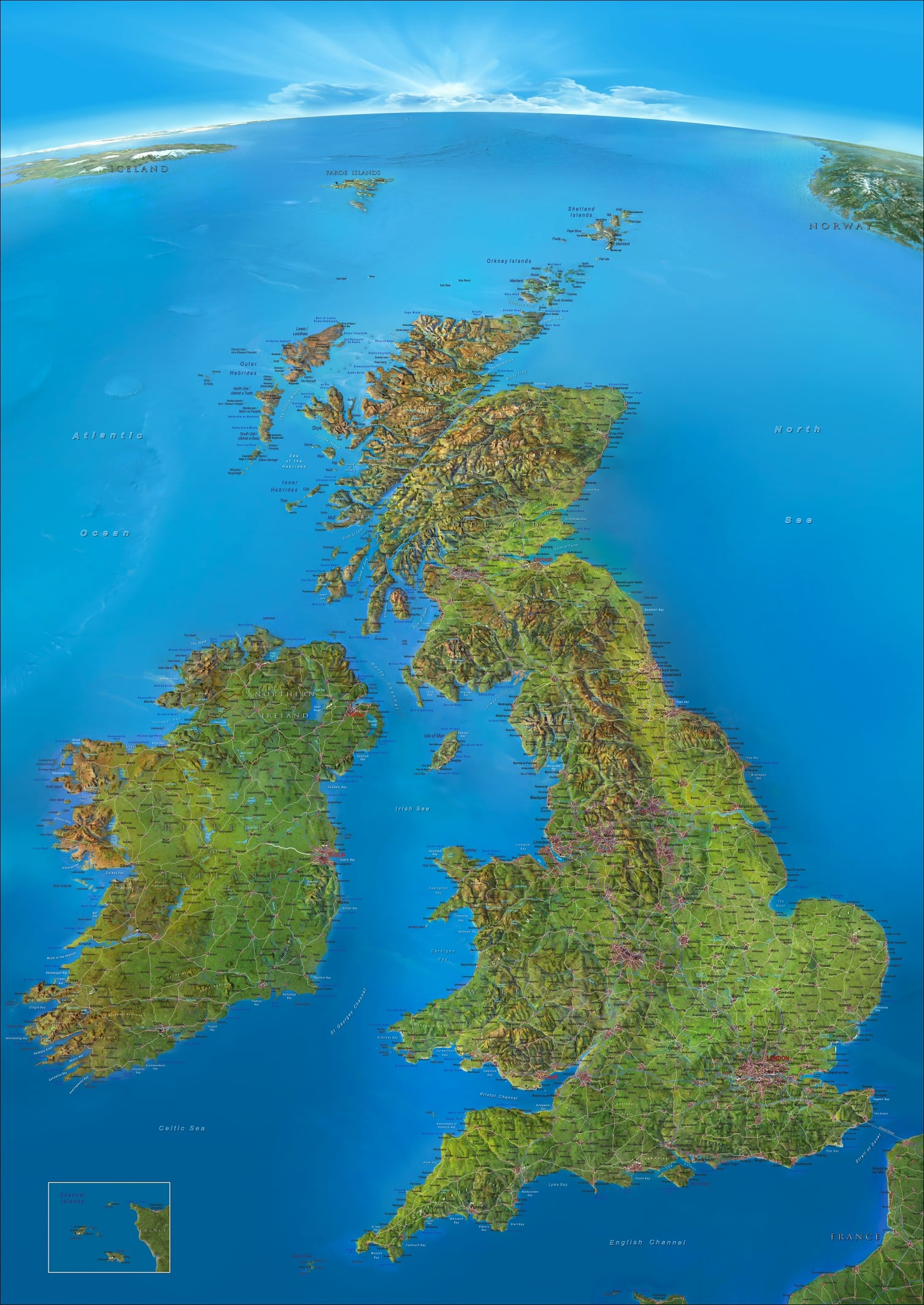 Panorama Wall Map British Isles  Westeurope Countries  Europe
