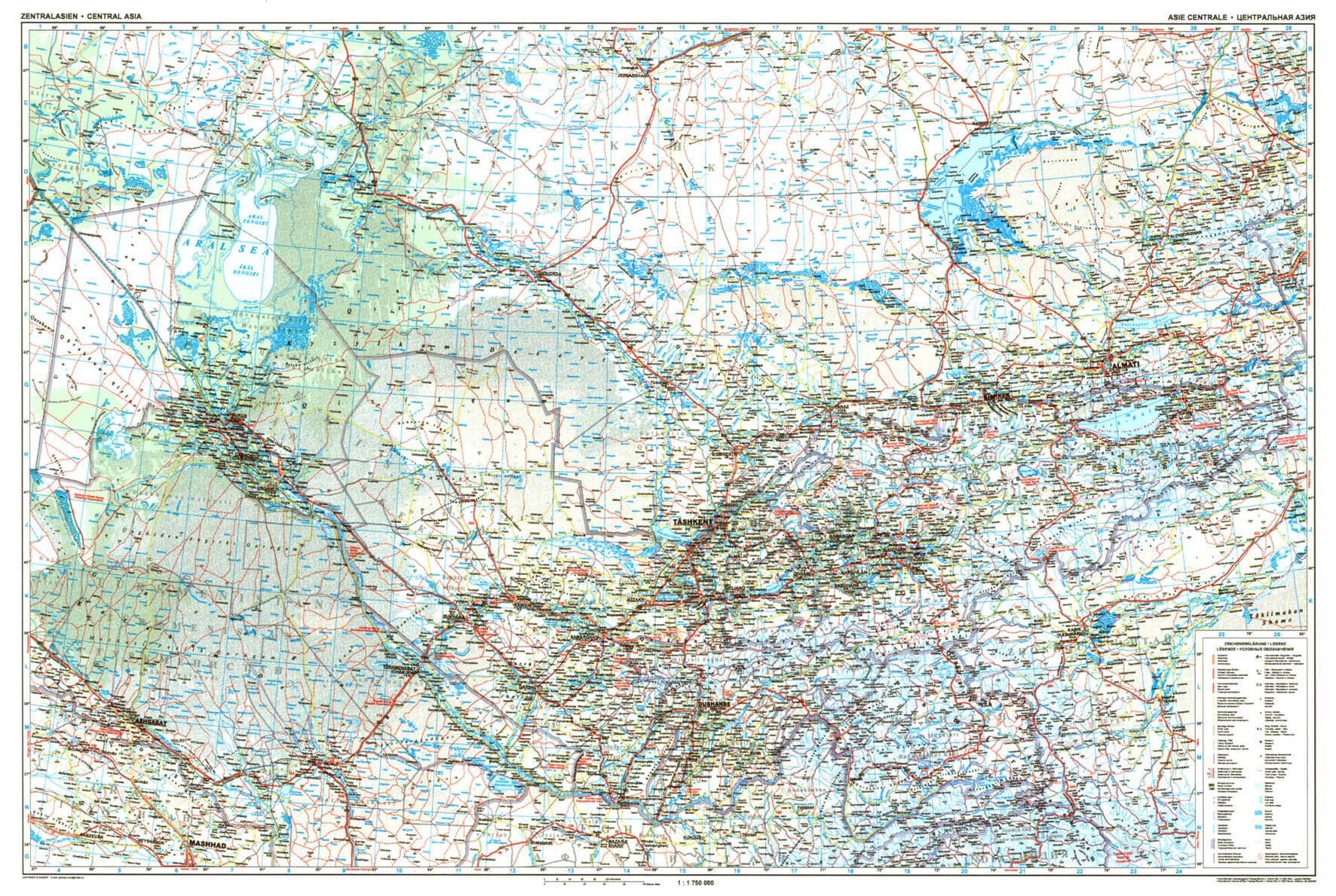 Central Asia Road Wall Map - Asia - Asia - Wall Maps