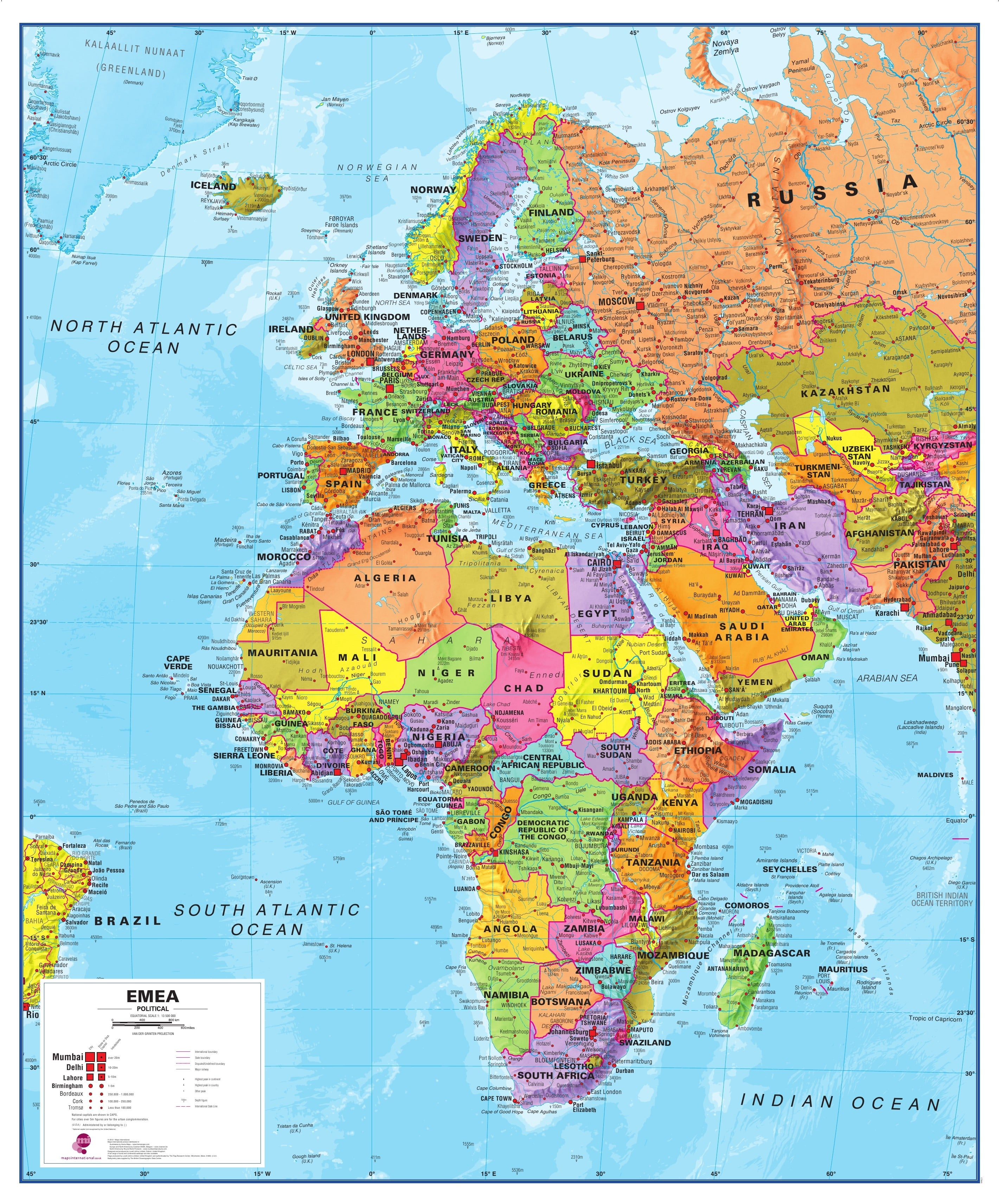 Emea europe africa middle east map europe europe wall maps gumiabroncs Choice Image