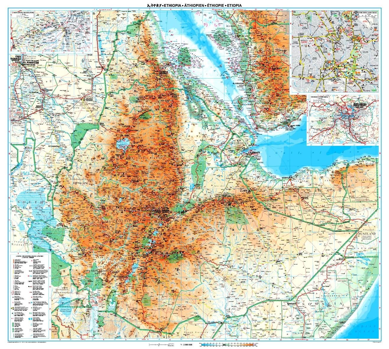 Ethiopia Wall Map 98 x 88cm
