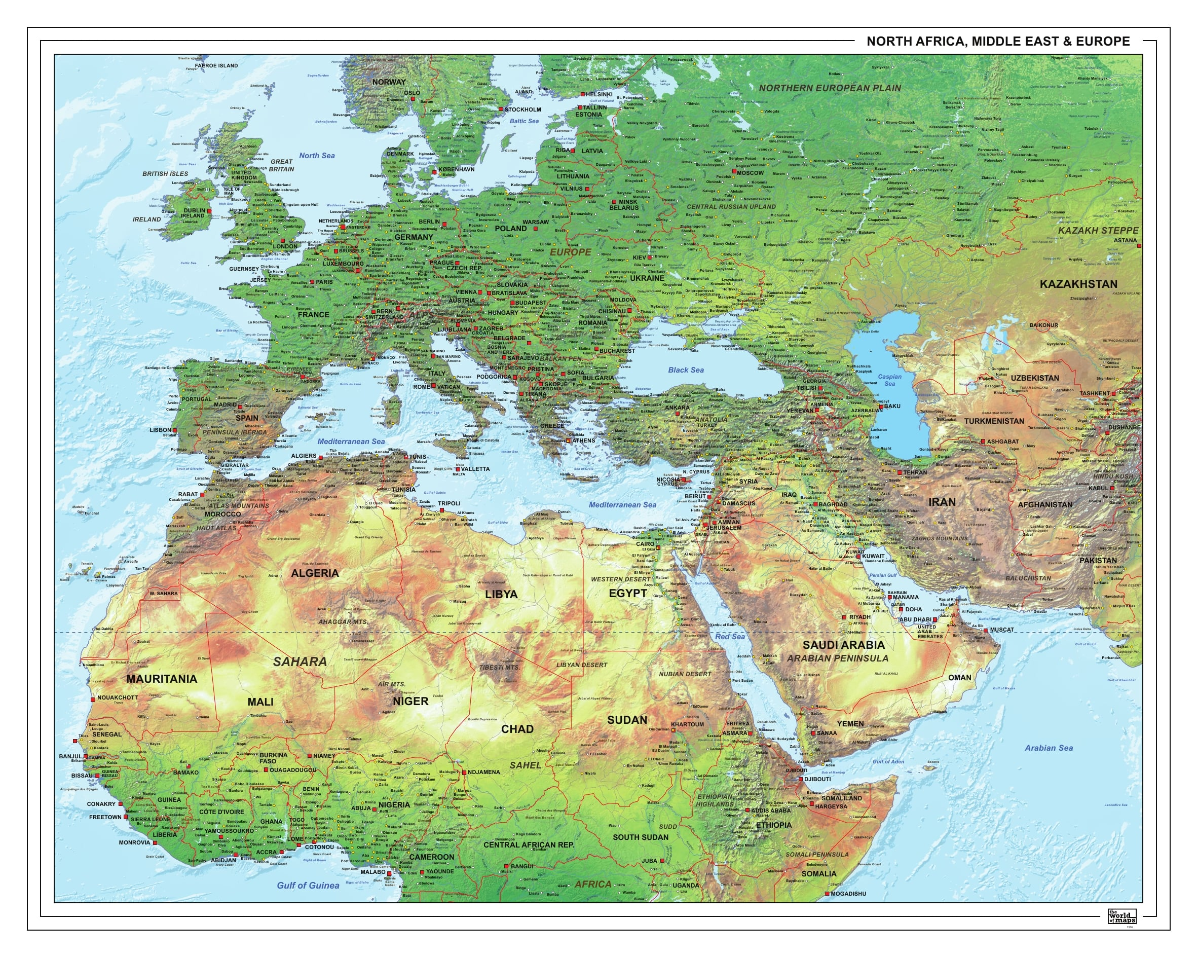 Refugee physical Map Europe, Middle East, Africa 140 x 110cm