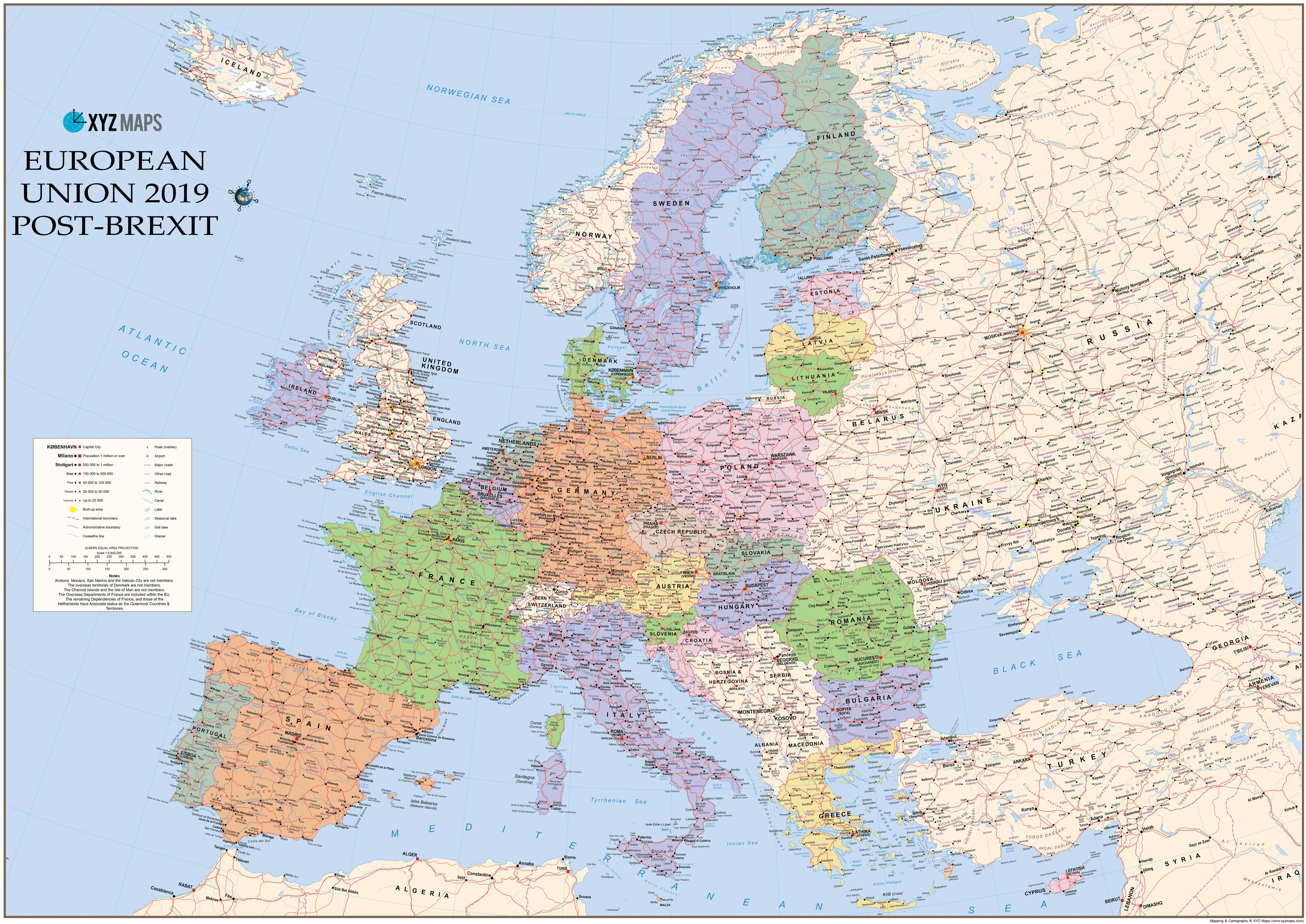 EU Map 2019 Post Brexit - Europe - Europe - Wall Maps