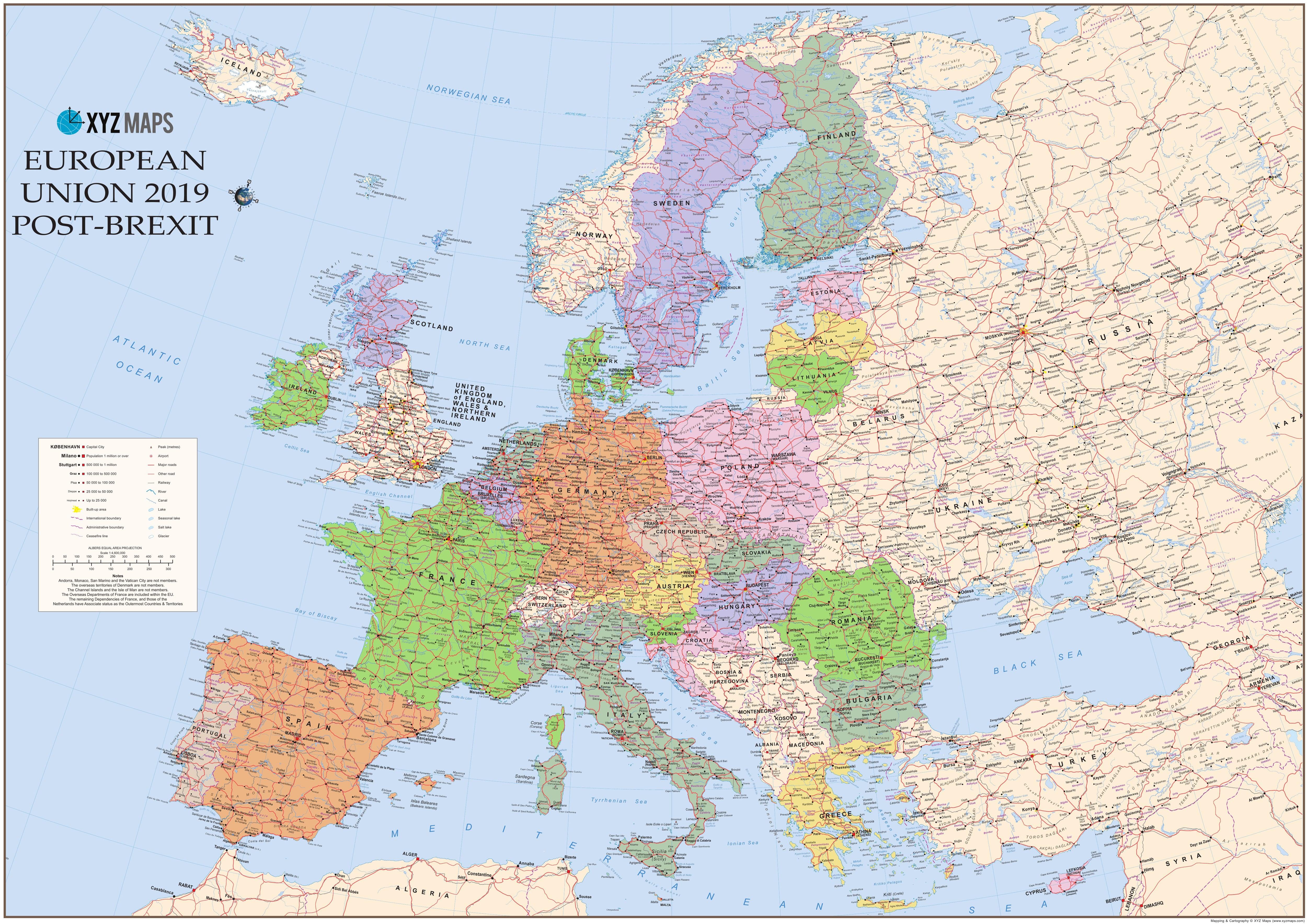 Den Europaeiske Union Eu Kort Med Skotland Som Eu Medlem 134 X