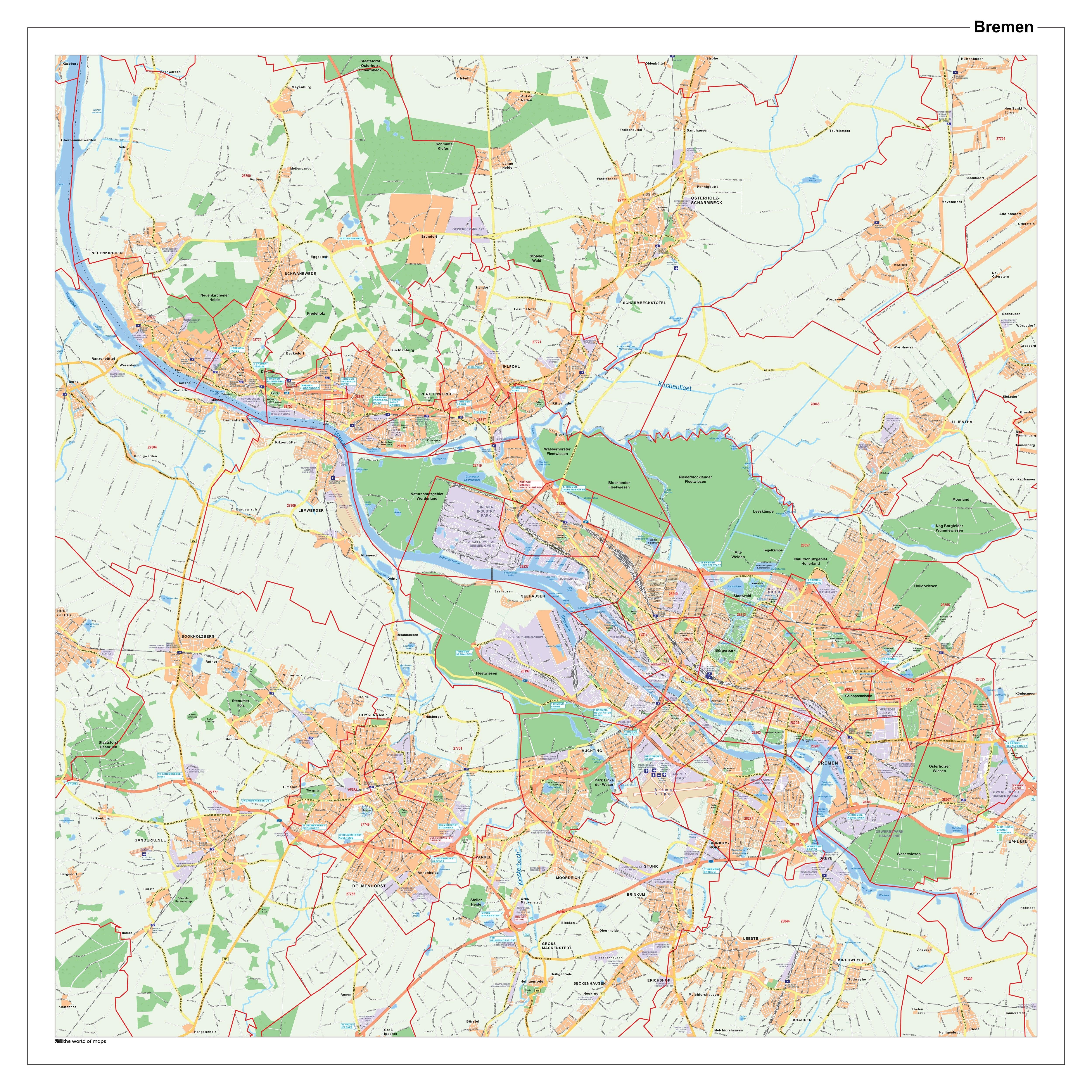Bykort Bremen Med Postnumre 100 X 100cm Gade Plan Tyskland