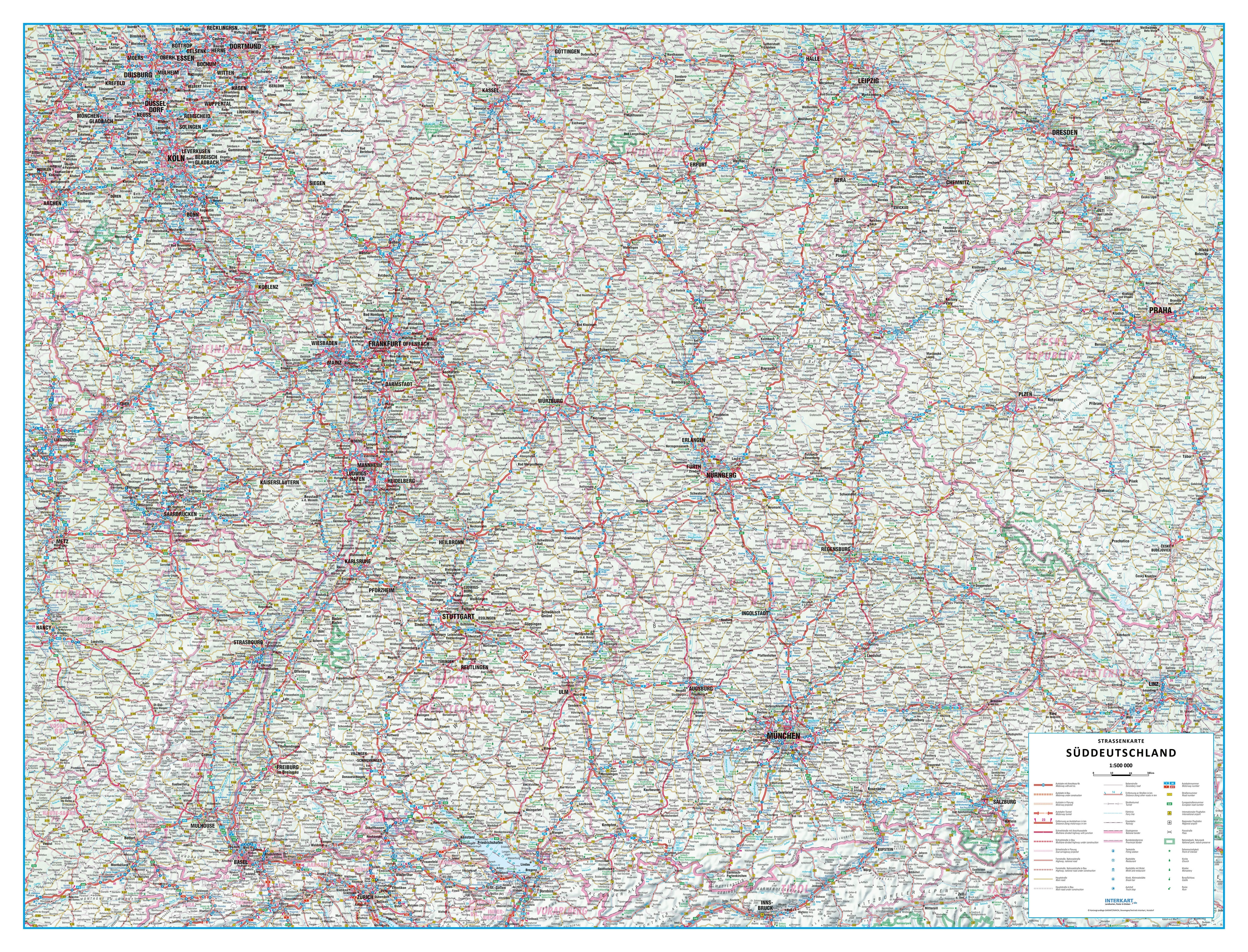 Road Map South Germany 135 x 103cm - Germany Wall Maps - Europe ...