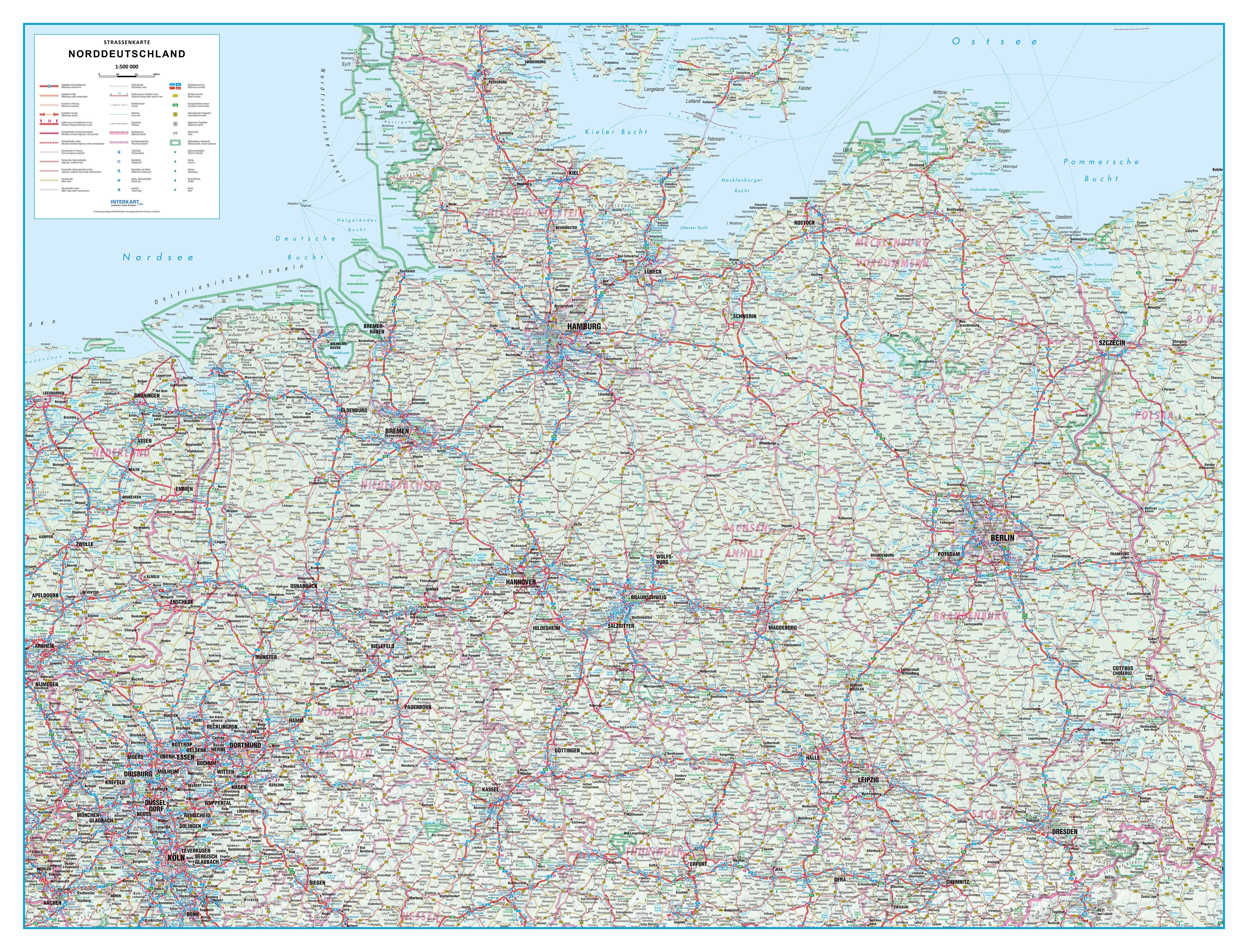 Road Map North Germany 135 x 103cm - Germany Wall Maps - Europe ...
