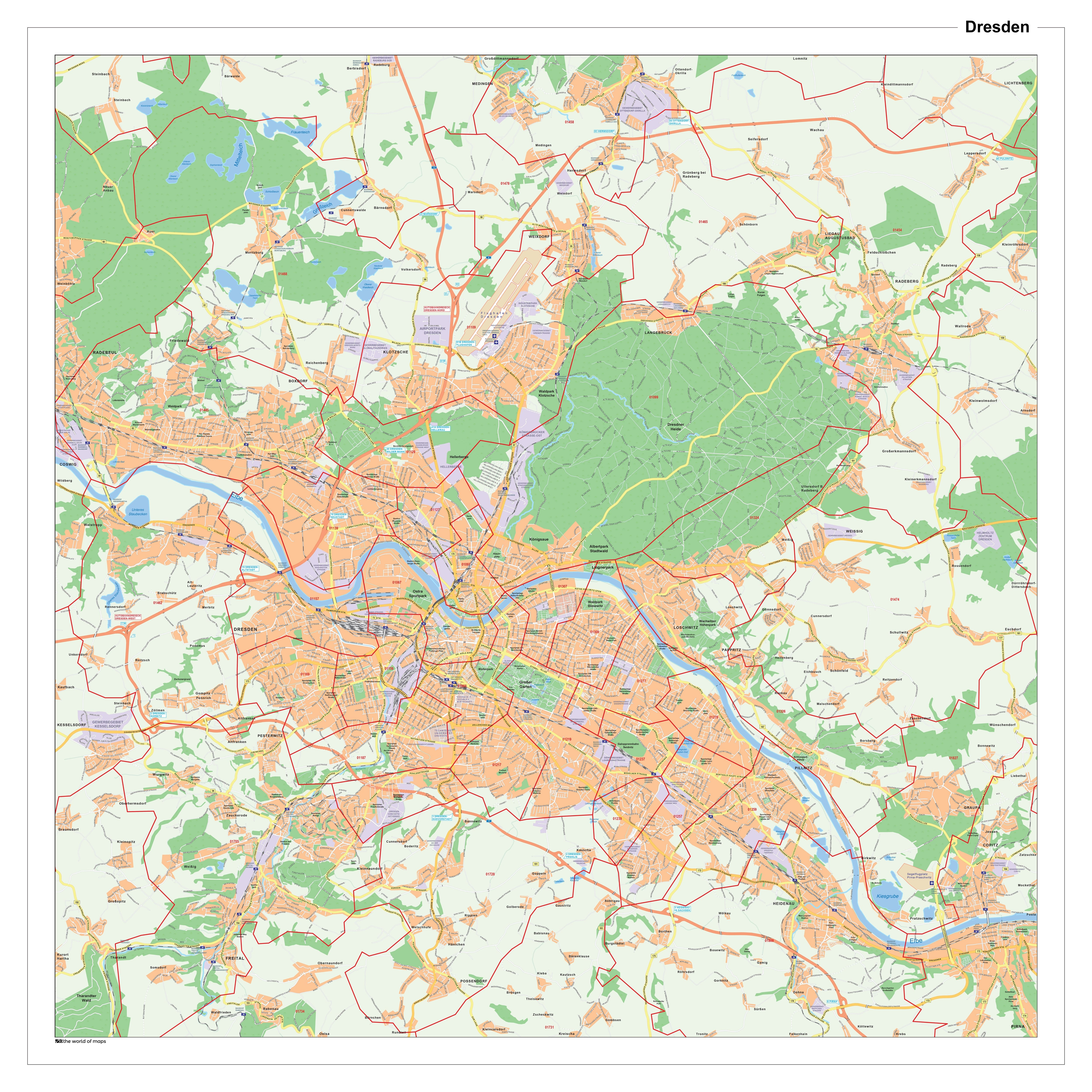 City Map Dresden With Post Code 100 X 100cm City Maps Germany