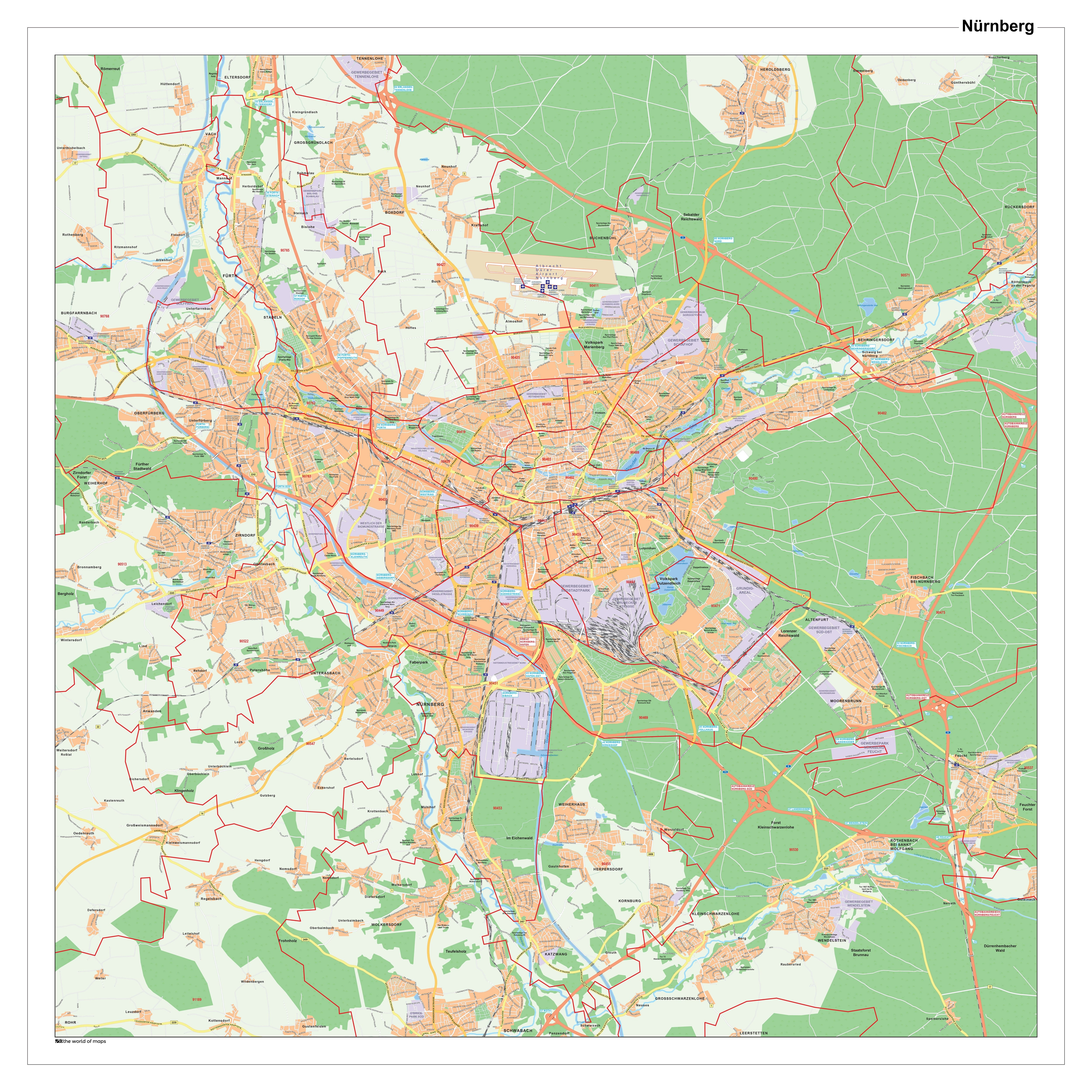 City map Nuremberg with zip codes 100 x 100cm - City Maps - Germany Zip Codes Map on
