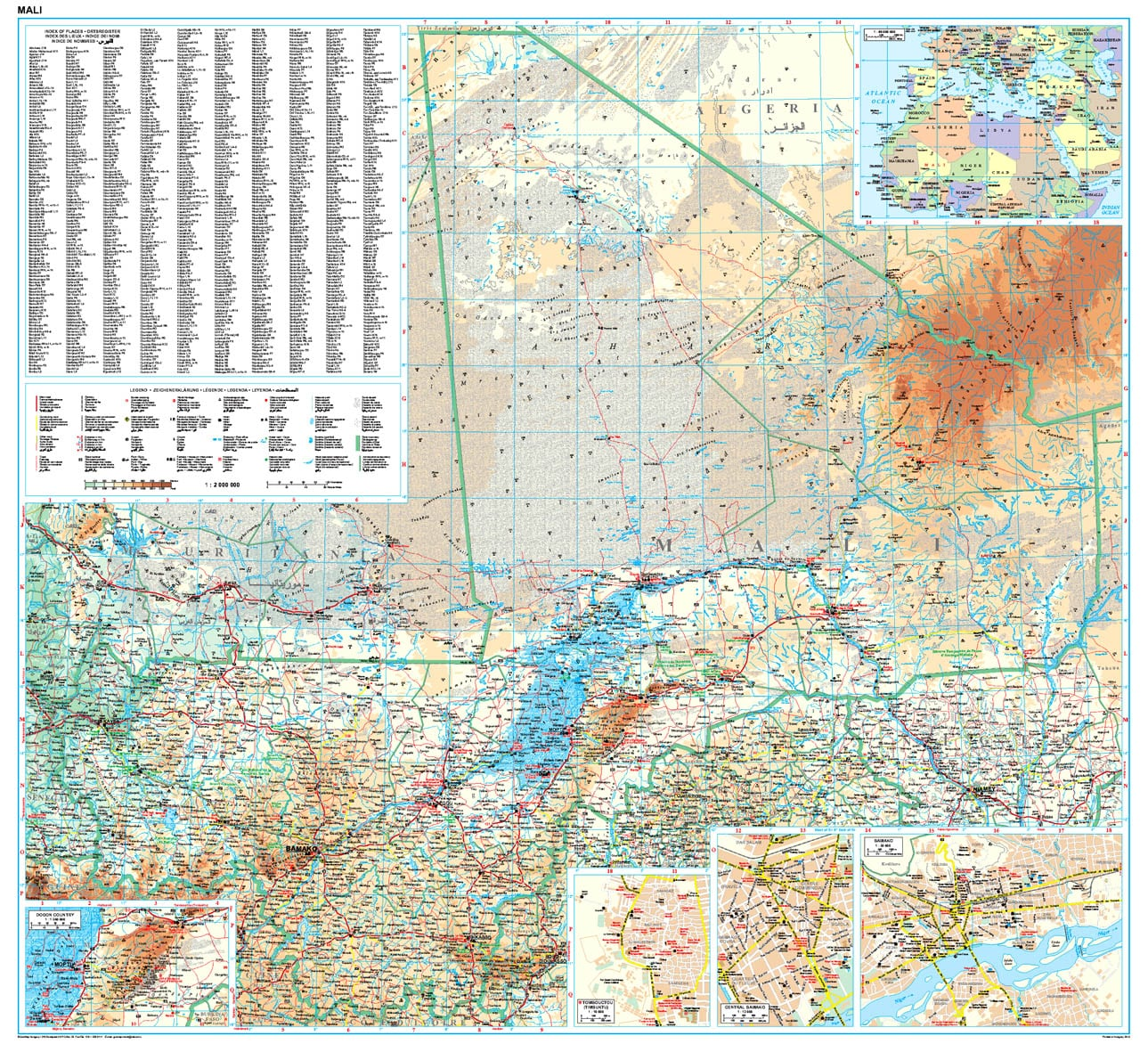 Mali Wall Map 96 x 88cm - Africa Countries - Africa - Wall Maps