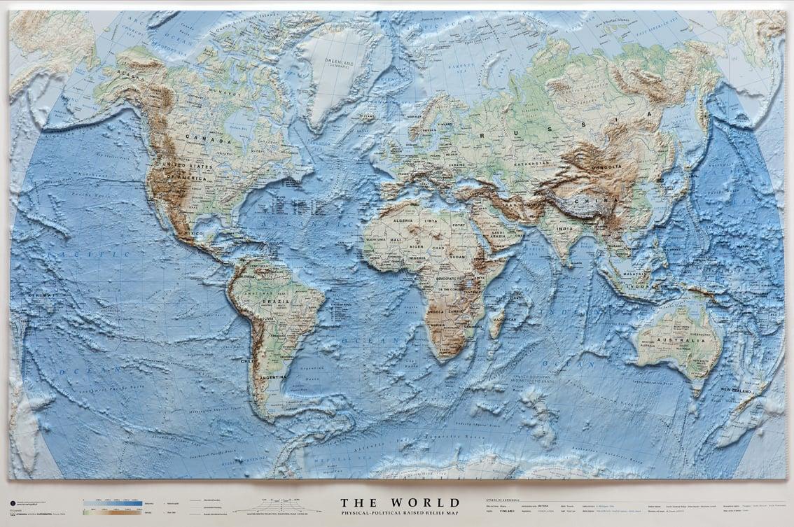 3d world map ocean floor 3d world maps 3d raised relief maps gumiabroncs Choice Image