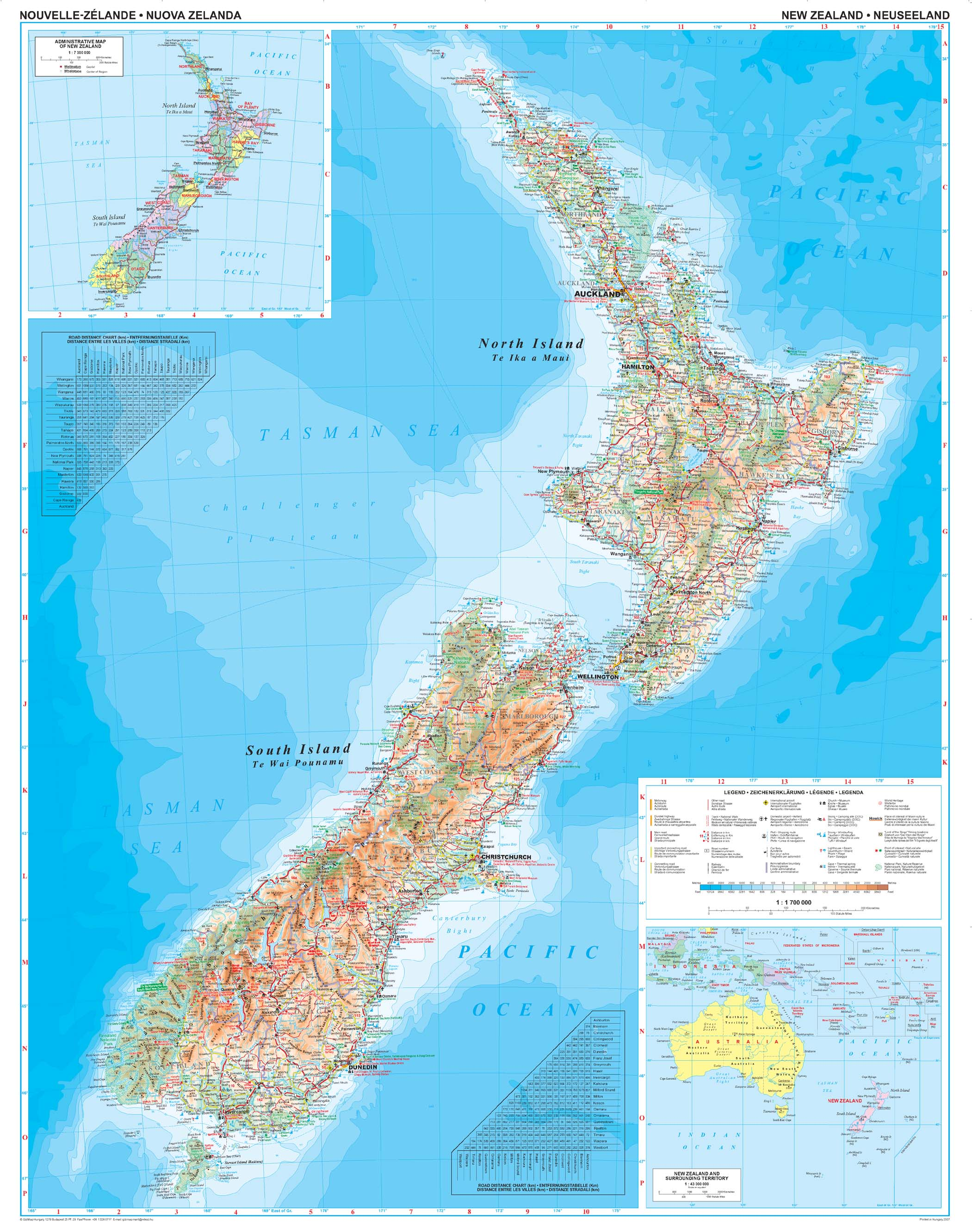 neuseeland landkarte Neuseeland Landkarte physikalisch 74 x 94cm   Ozeanien  neuseeland landkarte