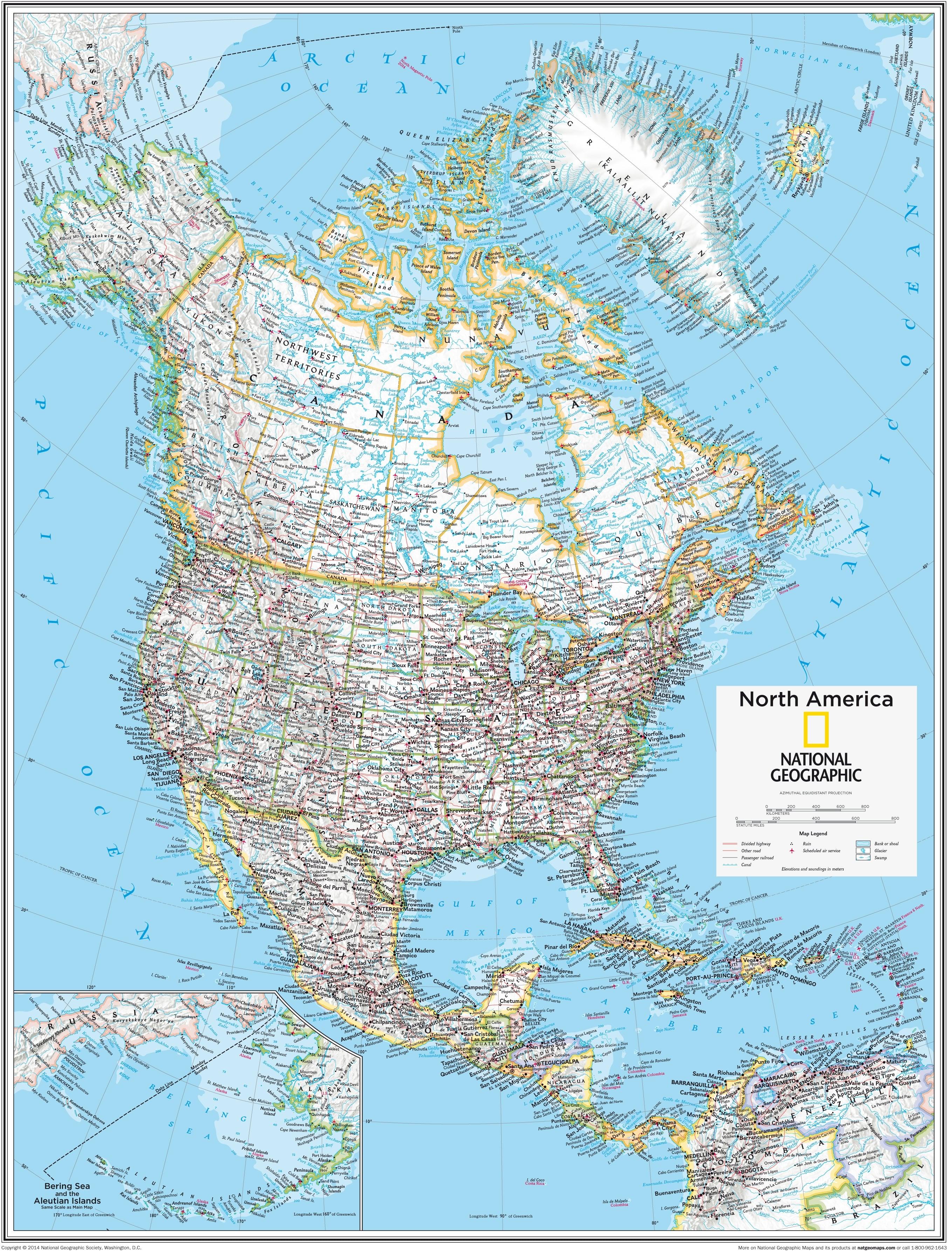 North America Map 73 x 91cm