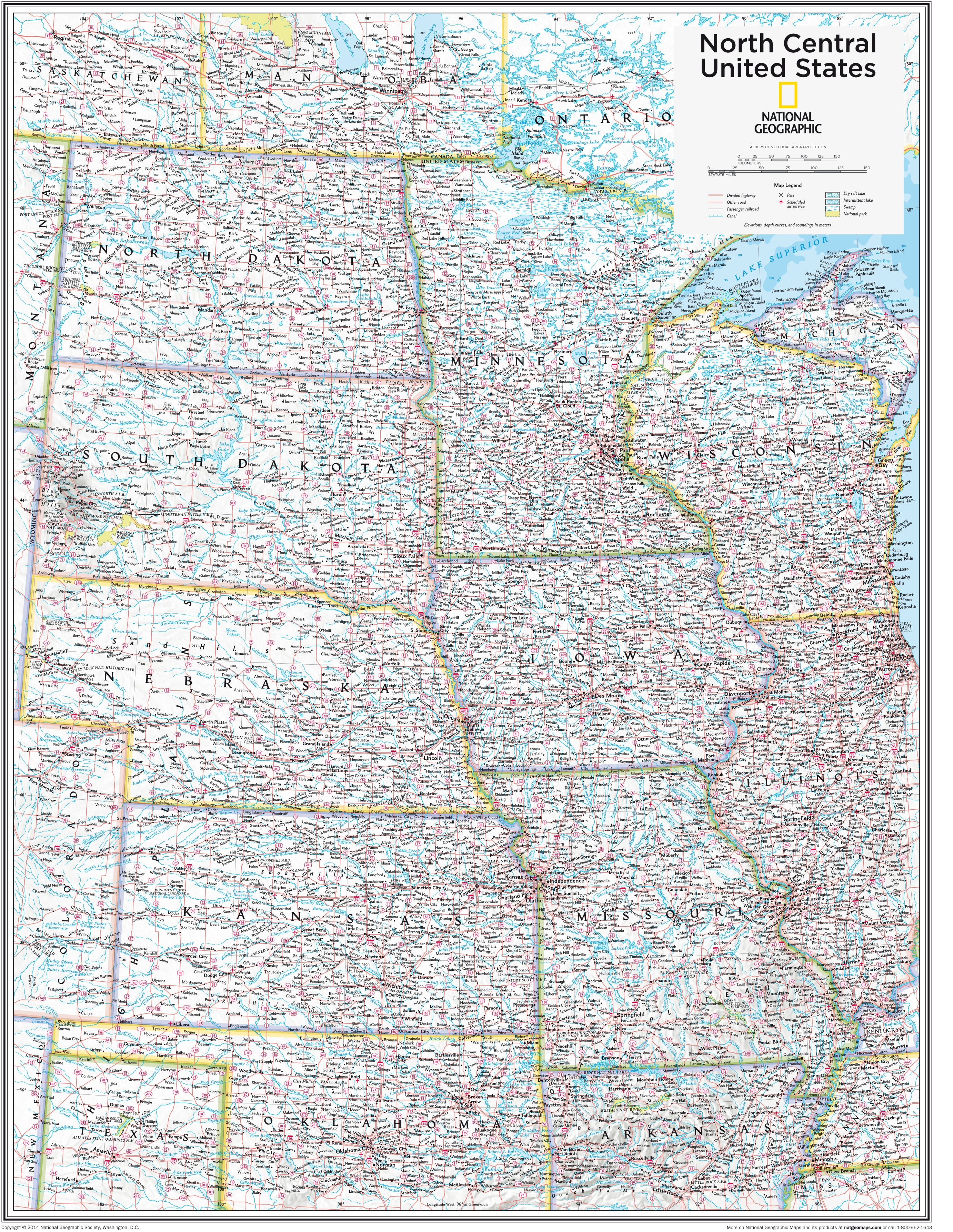 North Central Us Map.Ngs North Central United States Wall Map