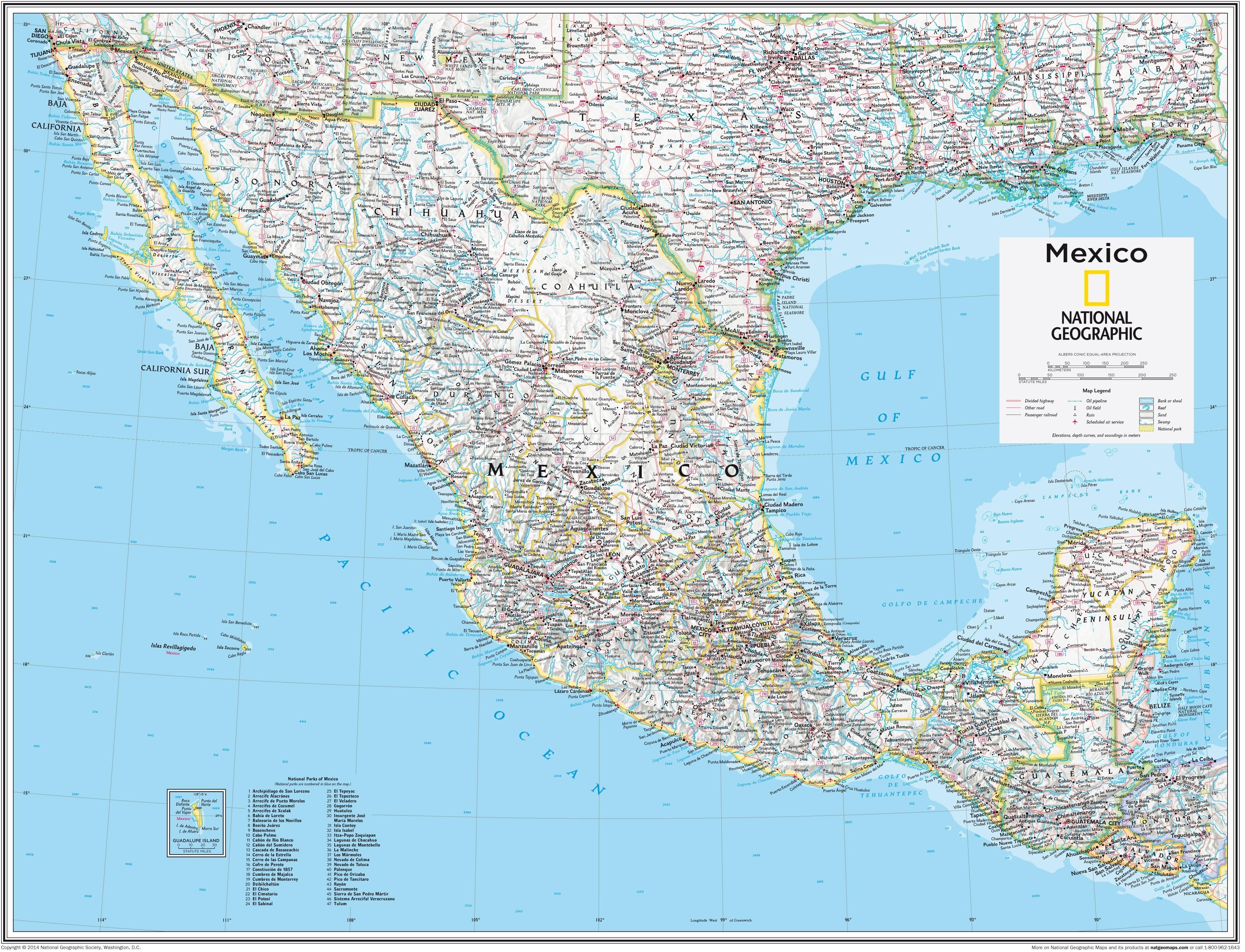 Mexiko Karte 73 x 91cm
