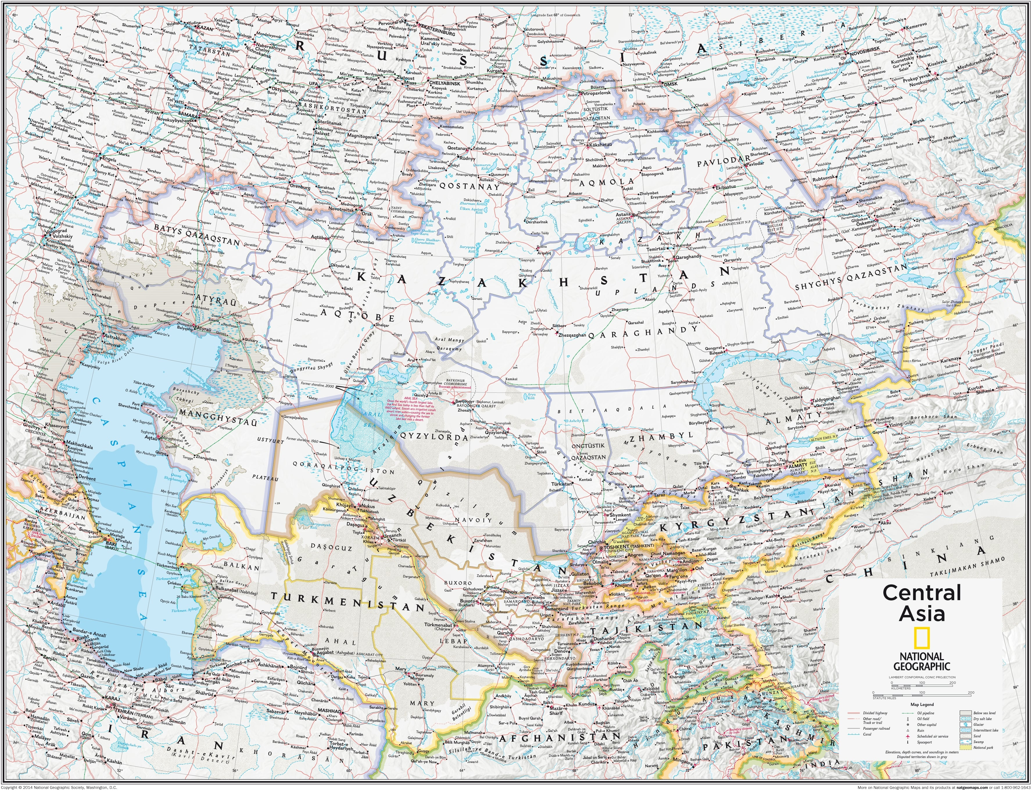 NGS Central Asia Wall Map