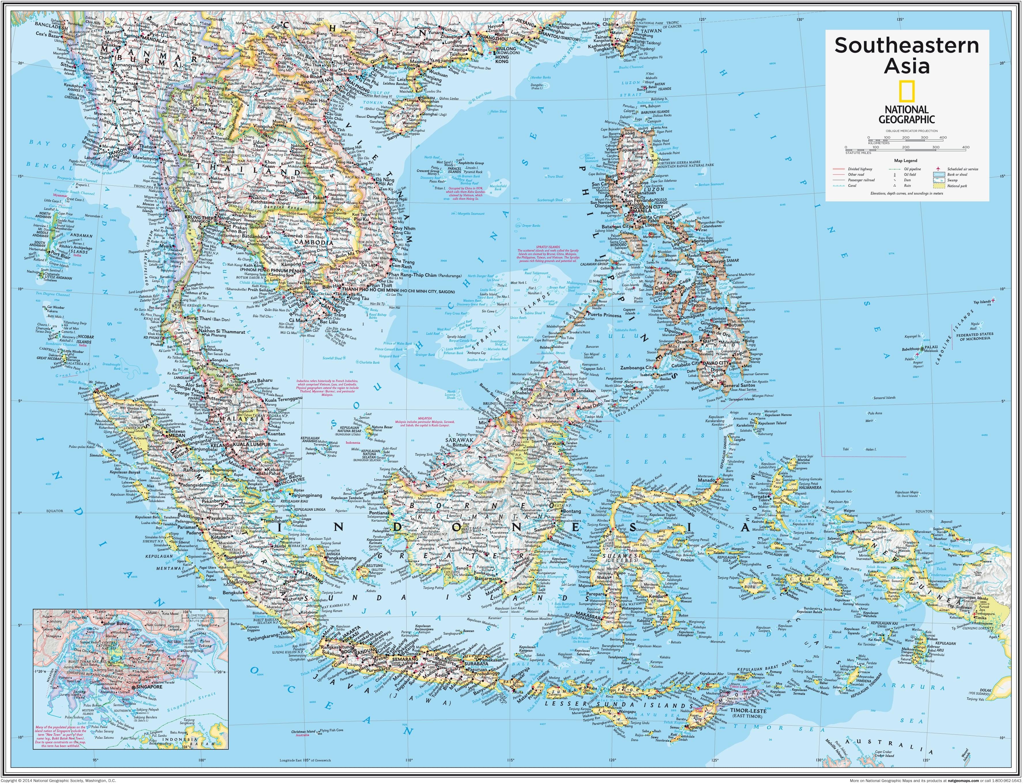Political Map Of Se Asia.Southeastern Asia 91 X 73cm
