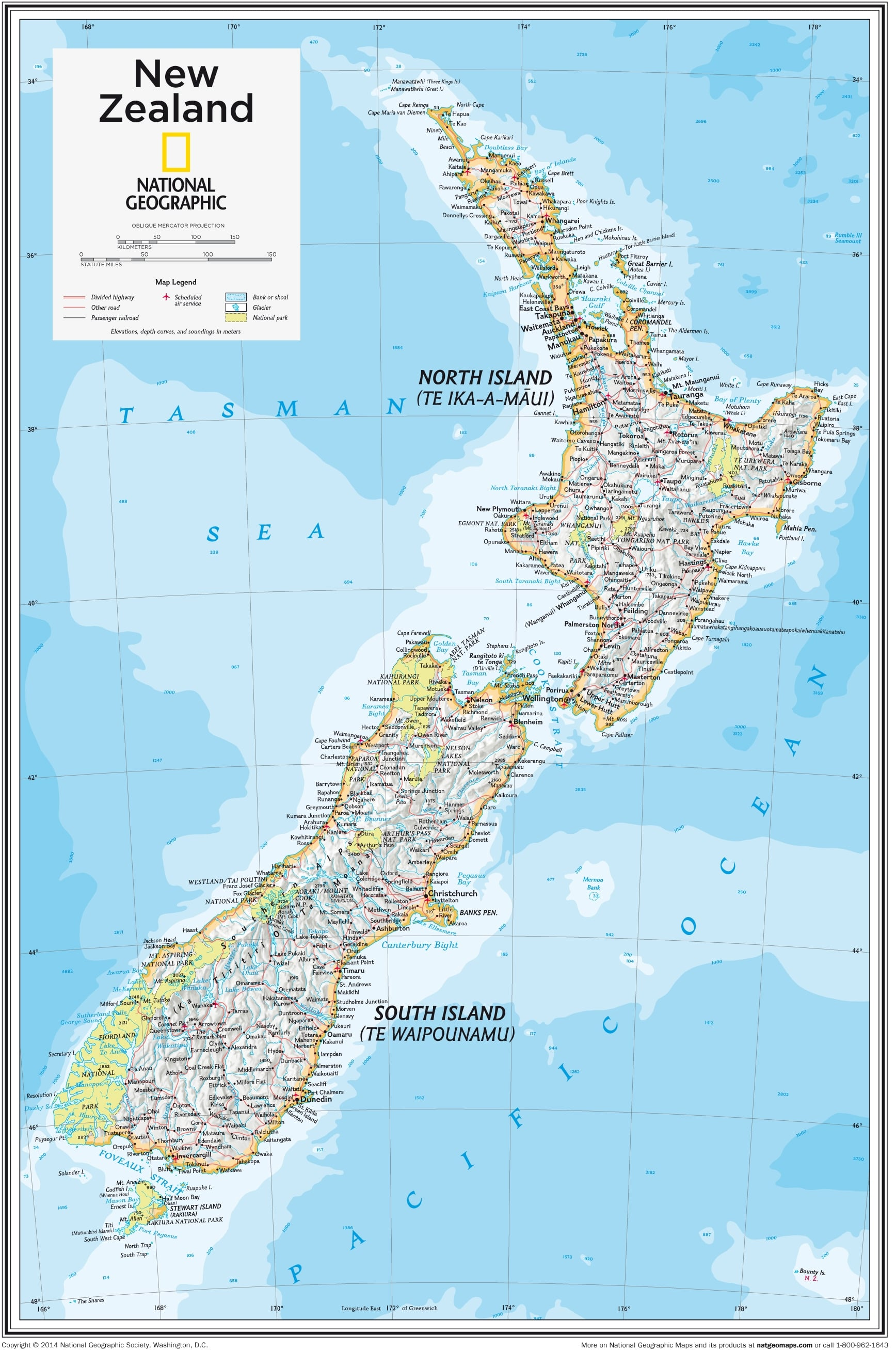 New Zealand North Map.New Zealand 73 X 91cm