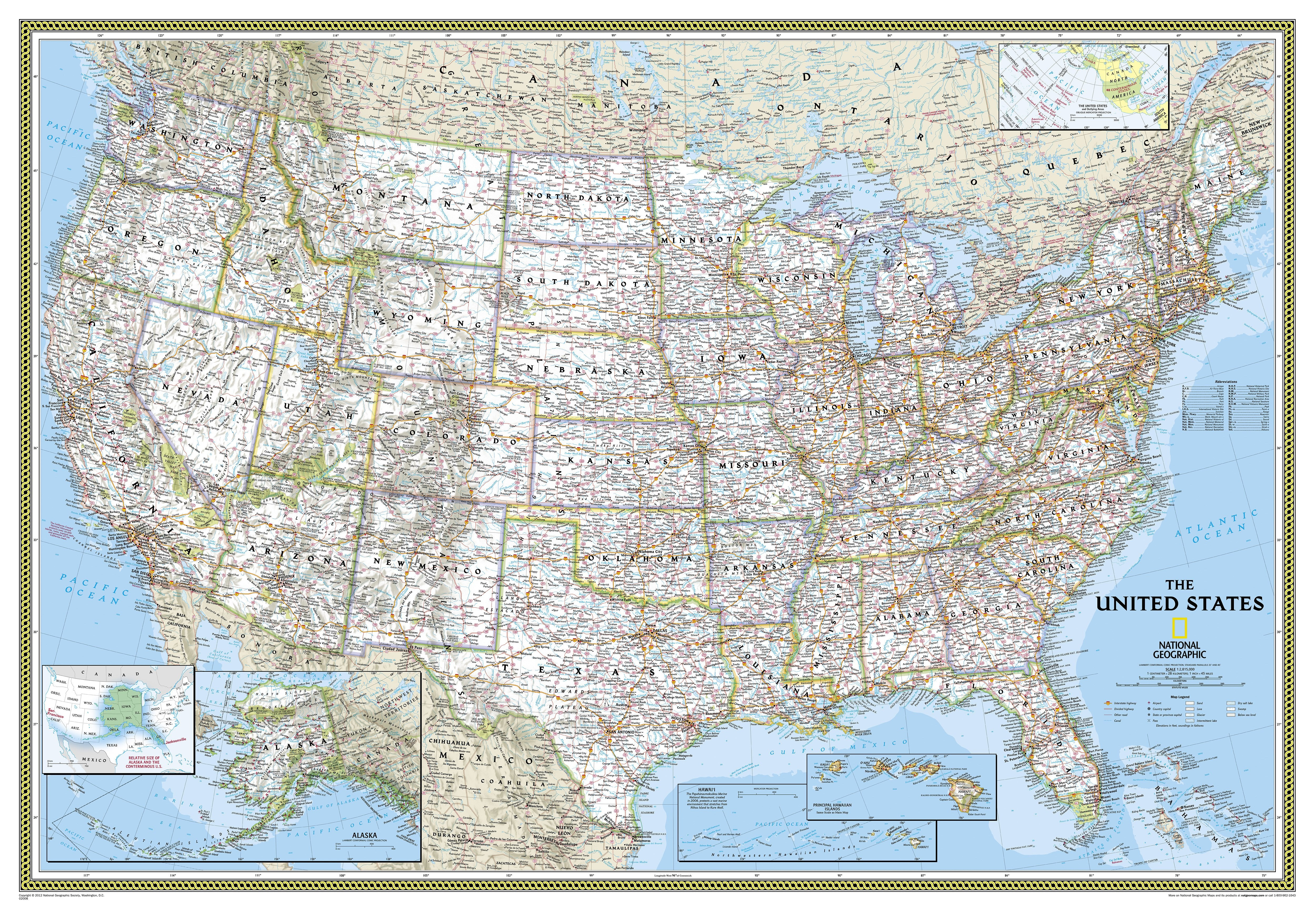 NGS Political US Map Large Size - Wall maps of us cities
