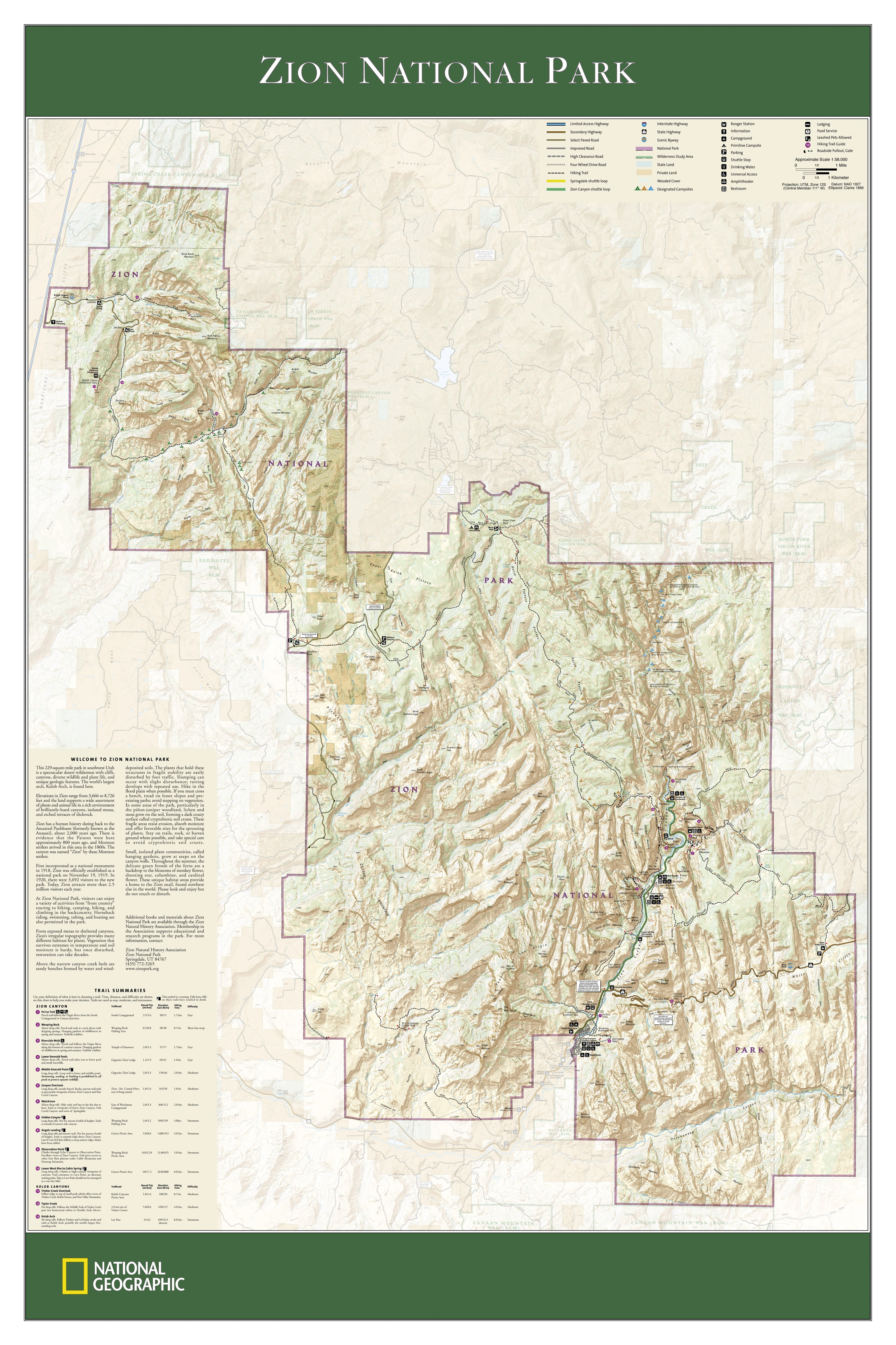 Zion National Park Wall Map - USA and US States Wall Maps ...