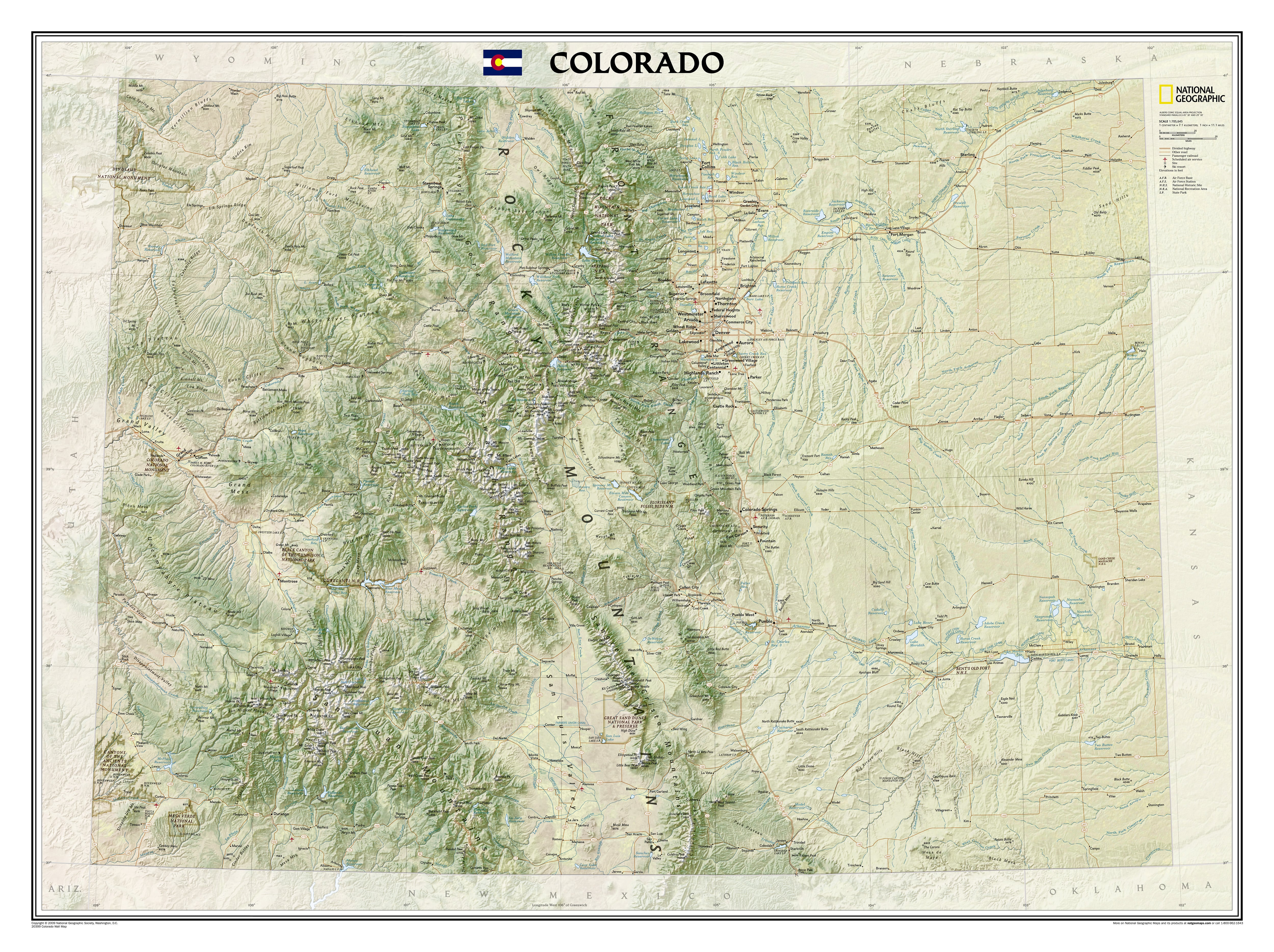 Colorado Wall Map 104 x 79cm - USA and US States Wall Maps ...