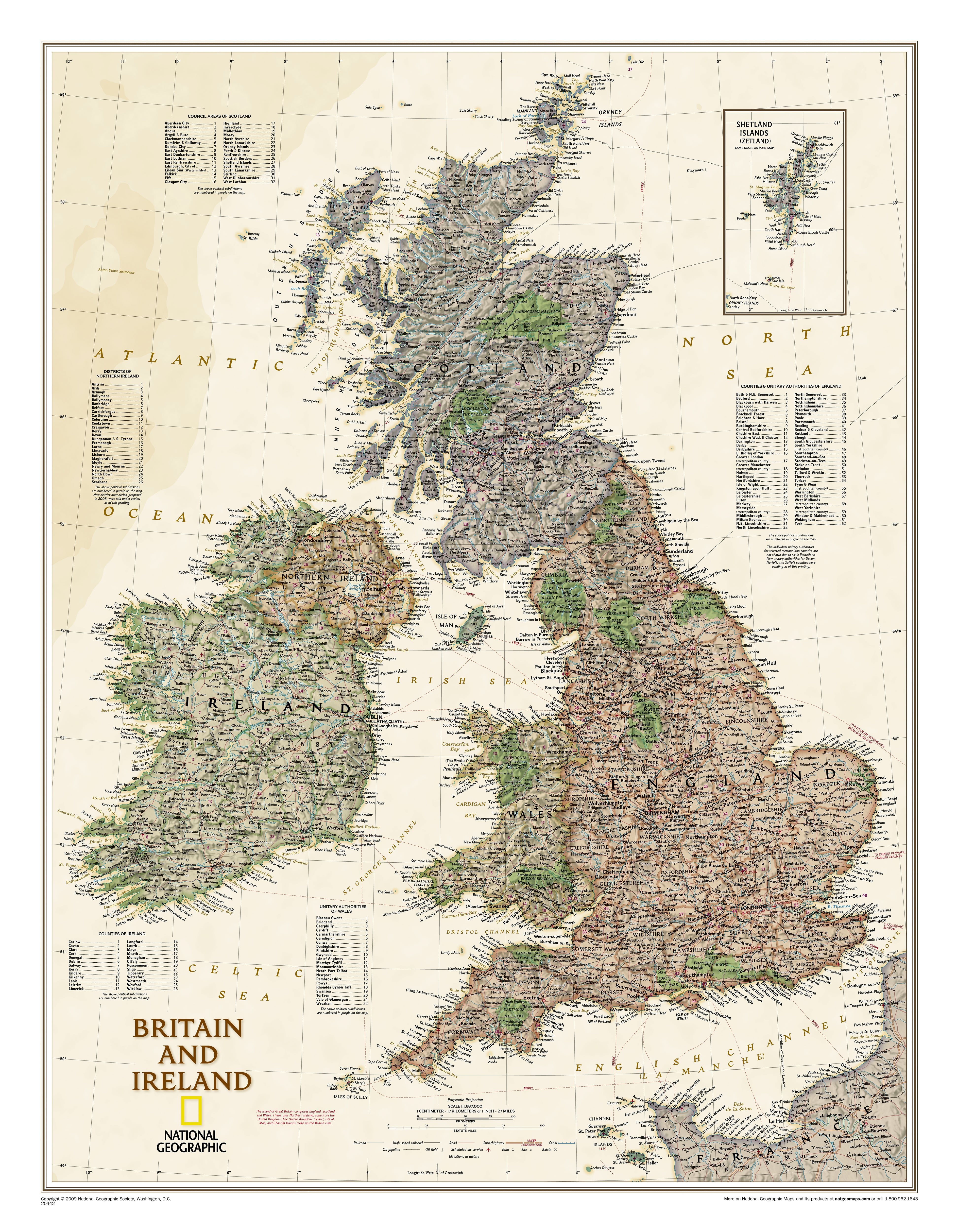 Ancient Map Of Ireland.Great Britain And Ireland Executive Wall Map