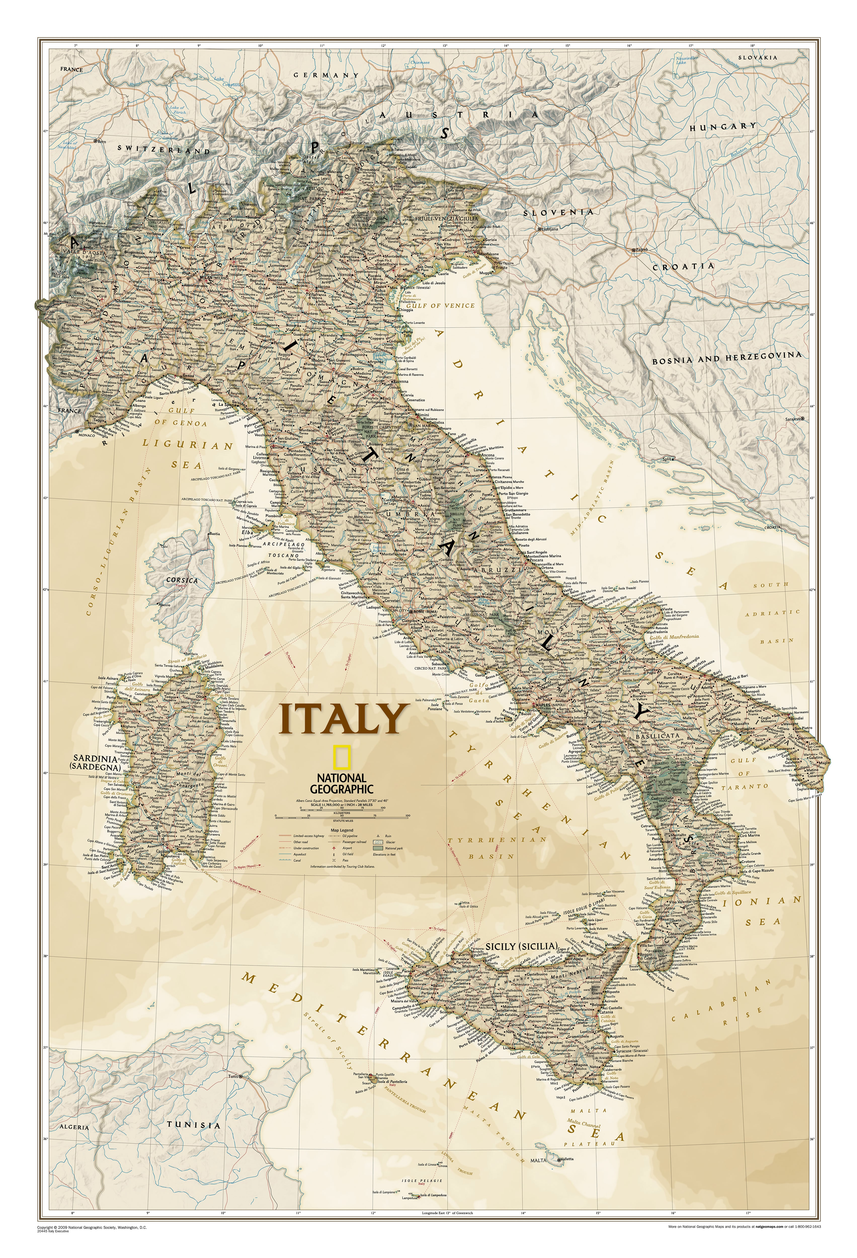 Italy Executive Wall Map Southeurope Countries Europe Wall Maps