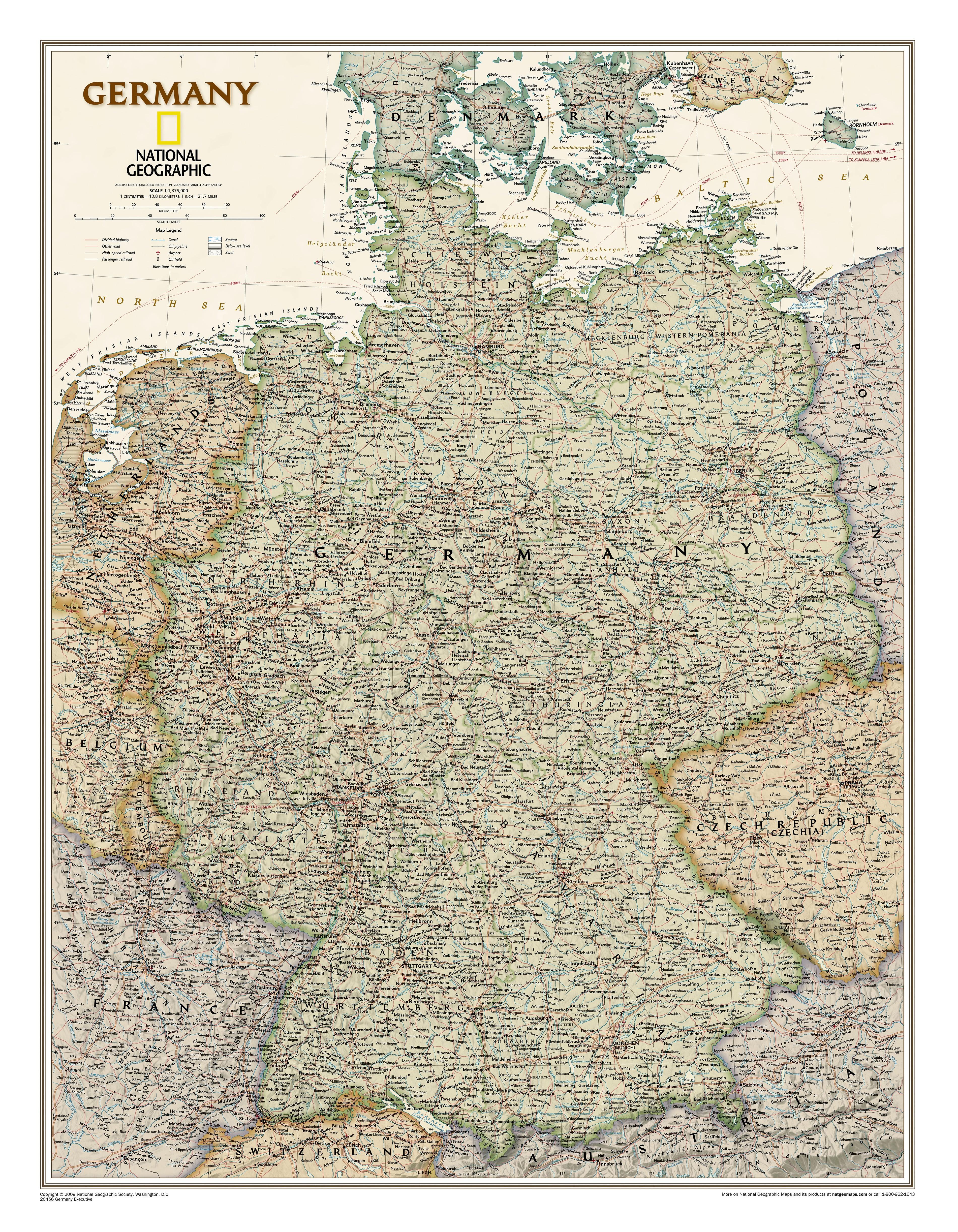 Land Karte Deutschland.Deutschland Landkarte Executive 58 X 76cm