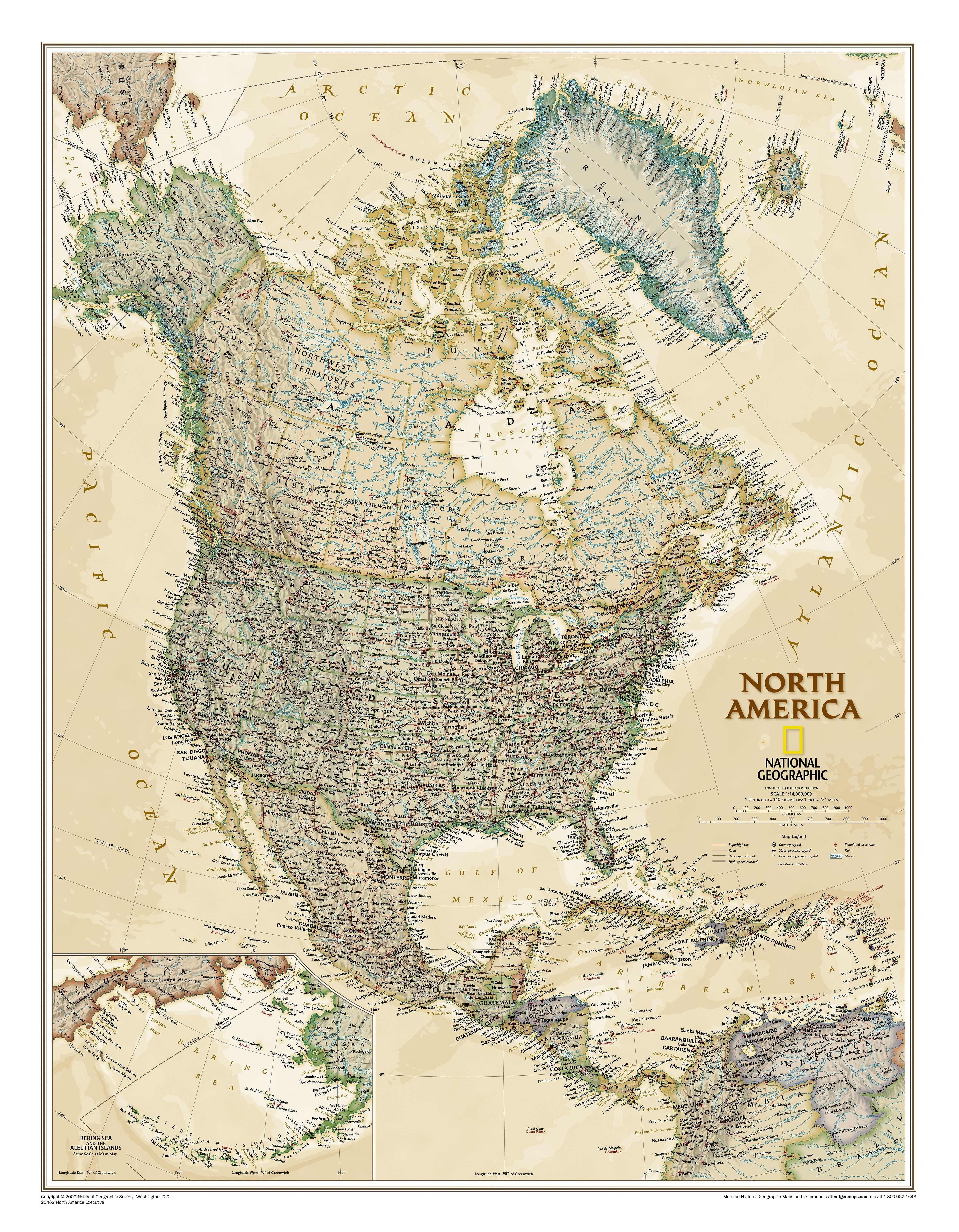 Executive North America Wall Map 61 x 76cm - Northamerica Continent ...