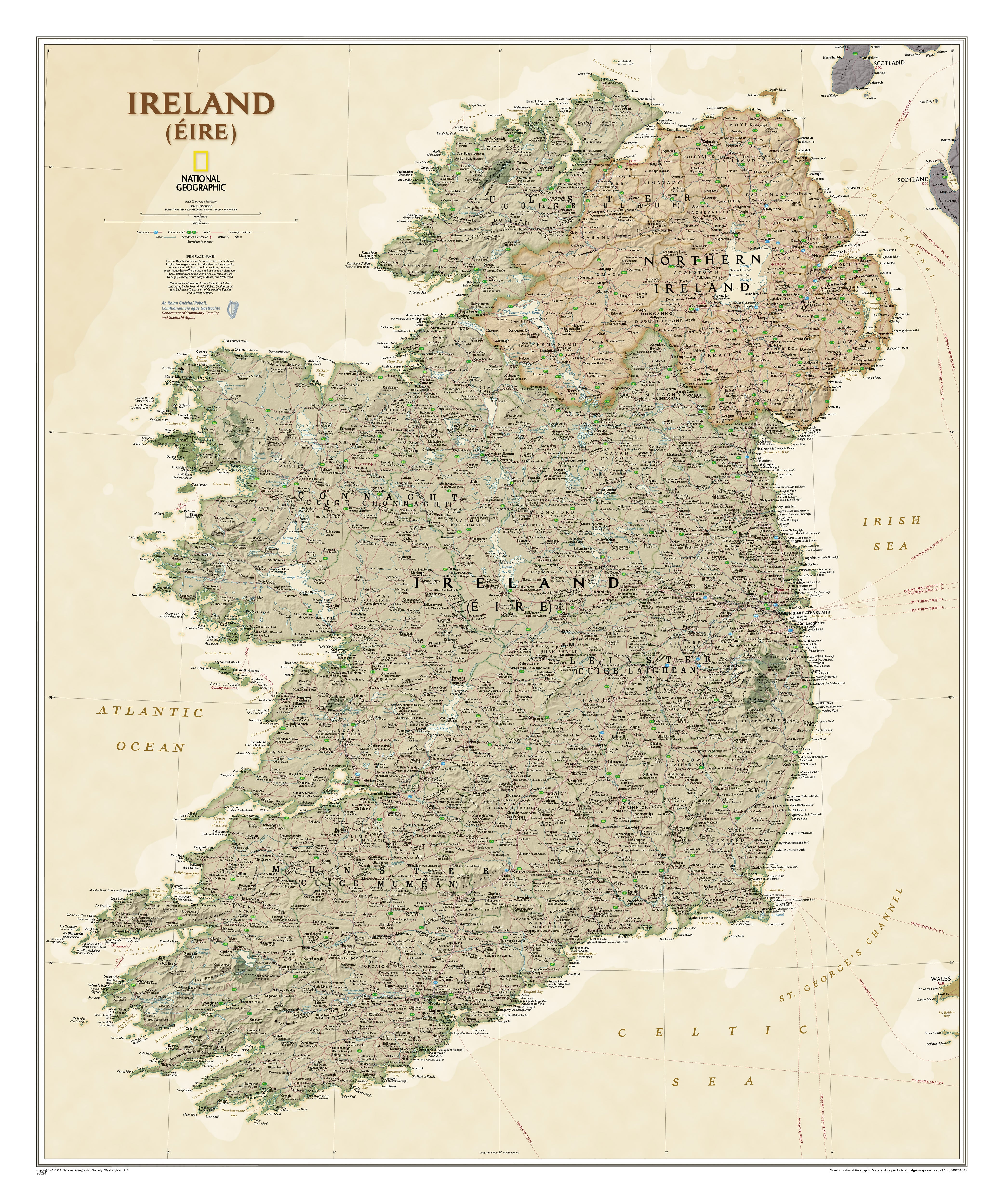 Map Of Ireland Poster.Ireland Wall Map Executive 76 X 91cm Westeurope Countries Europe