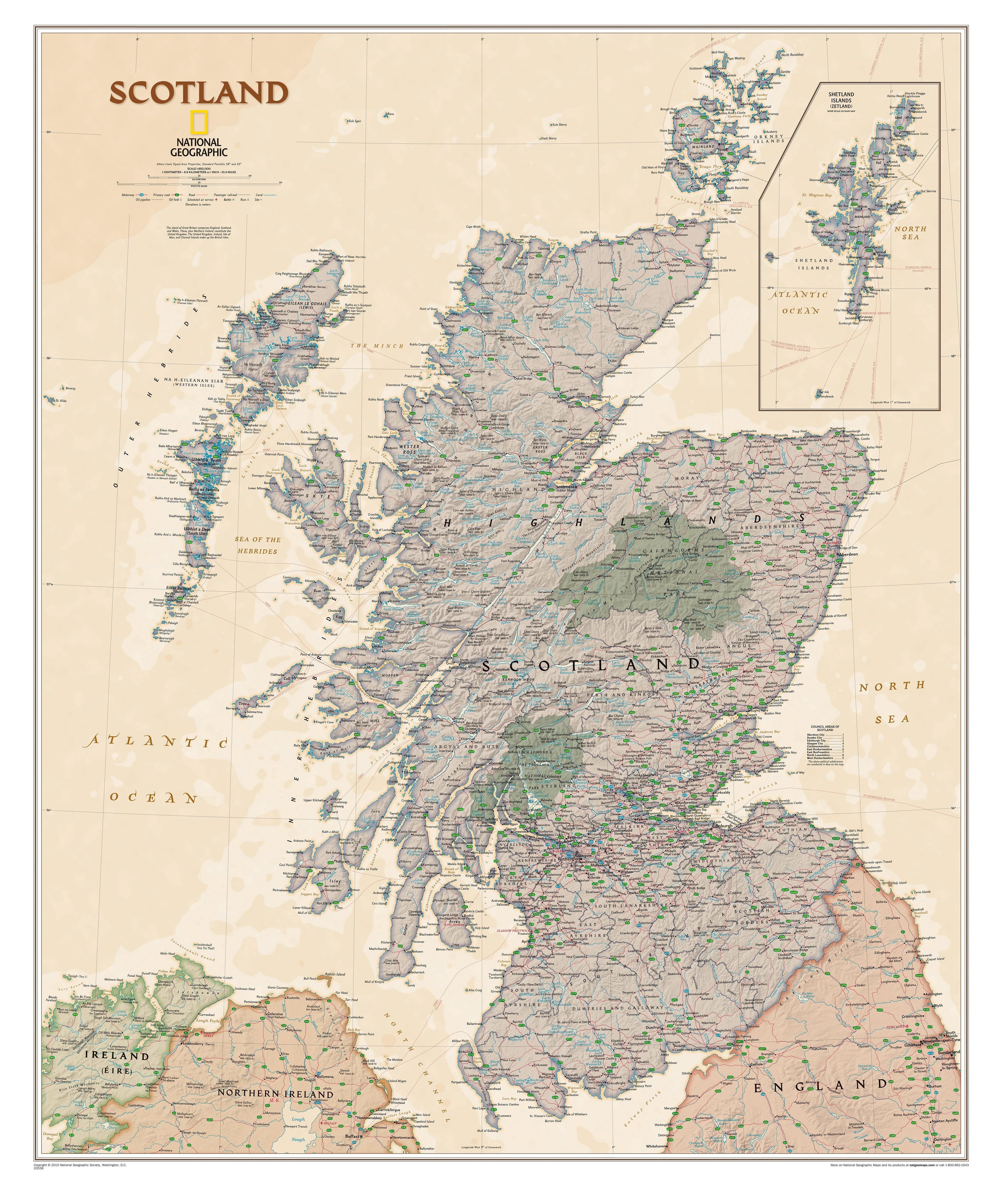 Scotland Wall Map Executive 76 X 91cm Westeurope Countries