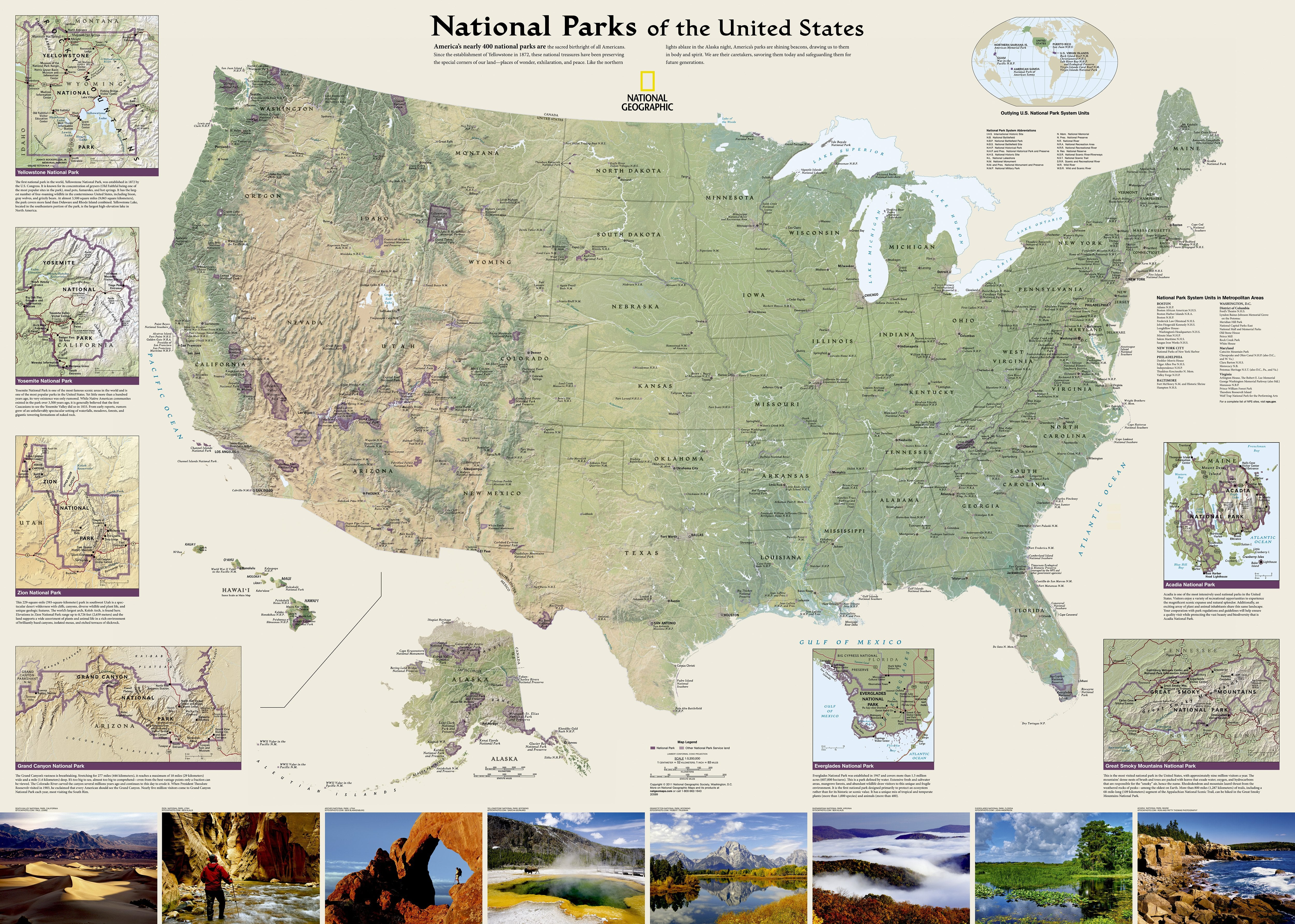US National Parks 106 x 76cm - USA-Maps - National Geographic Maps