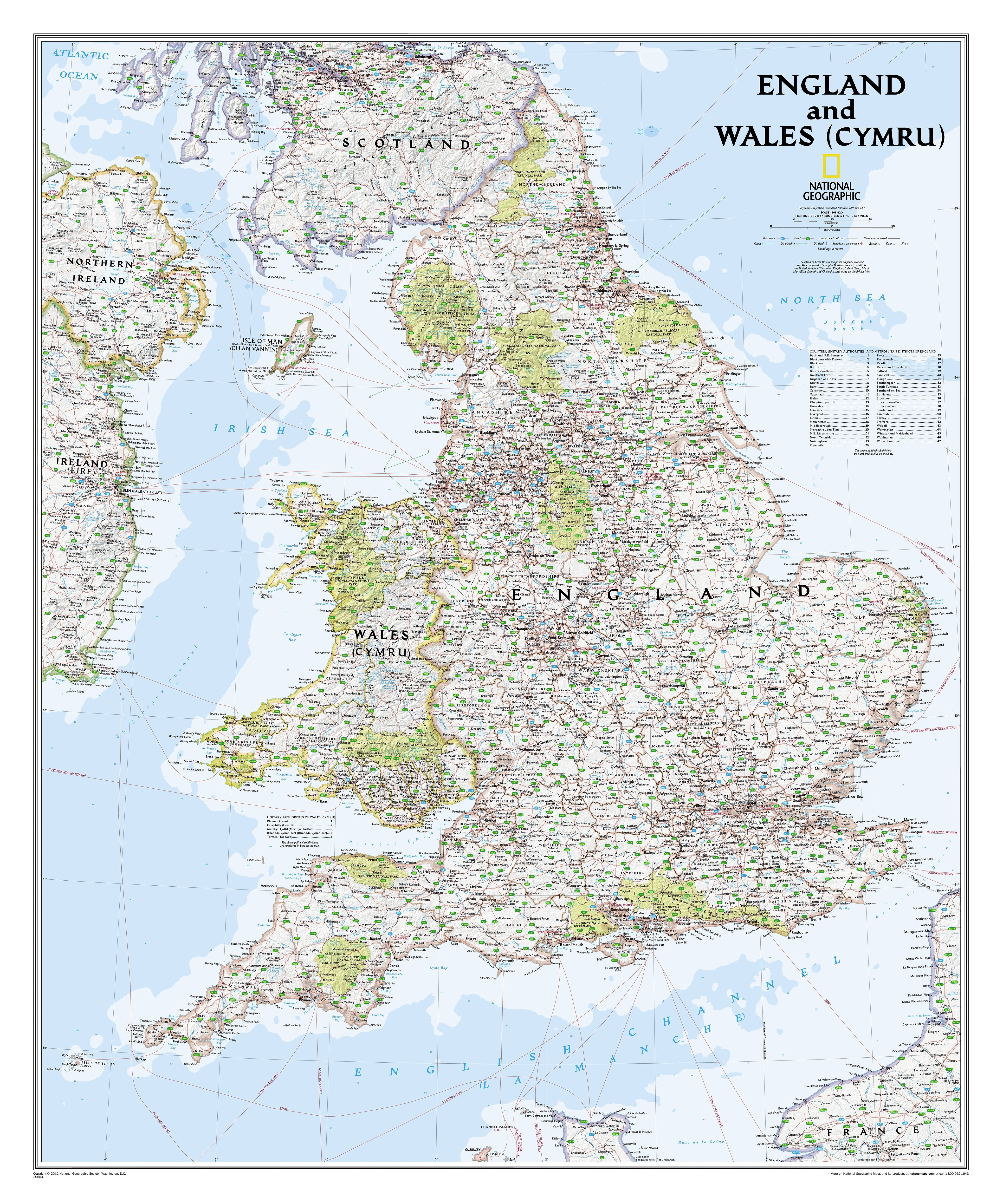 Map Of England Poster.England And Wales Wall Map 76 X 91cm