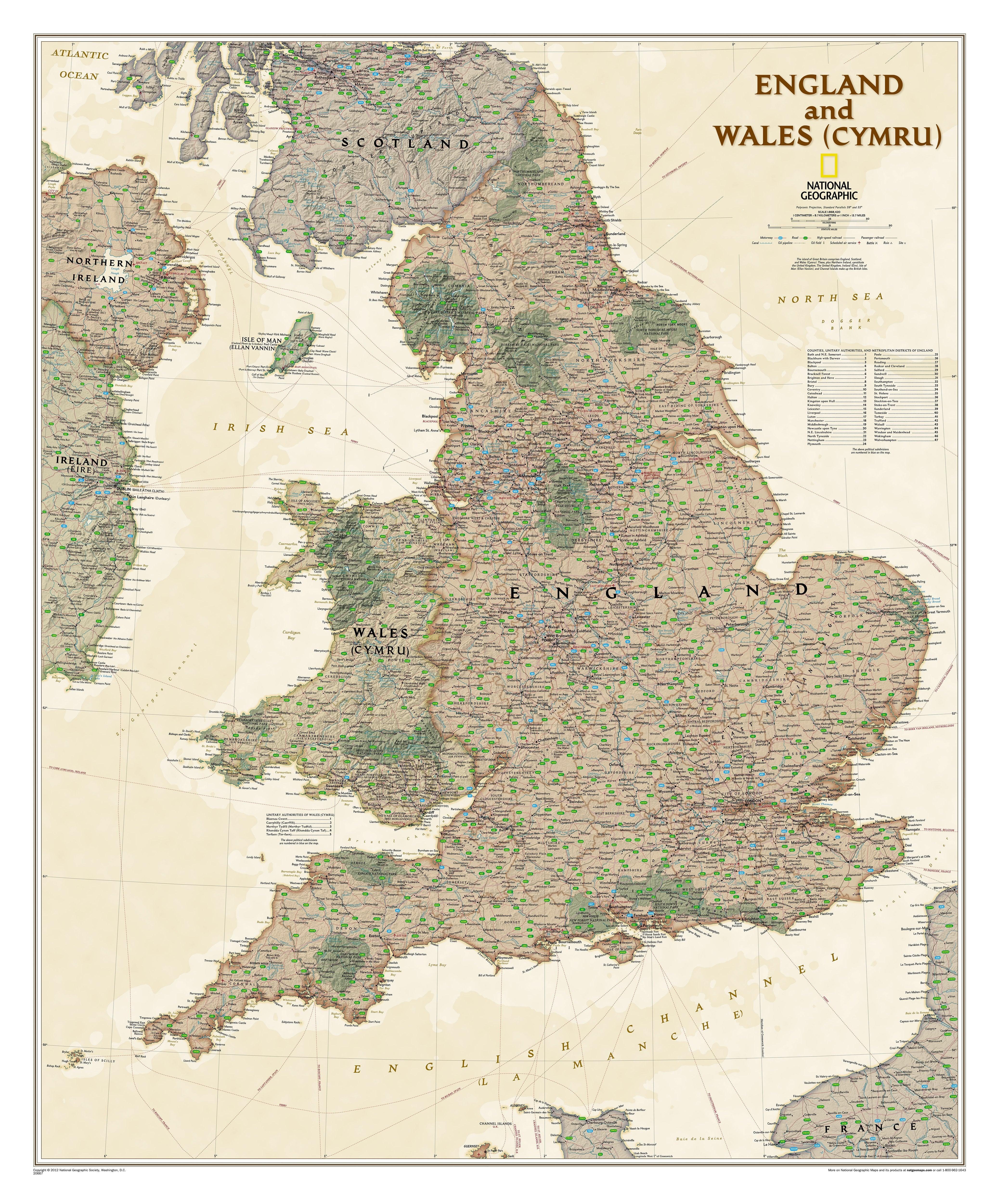 England Und Wales Executive Landkarte 76 X 91cm Westeuropa