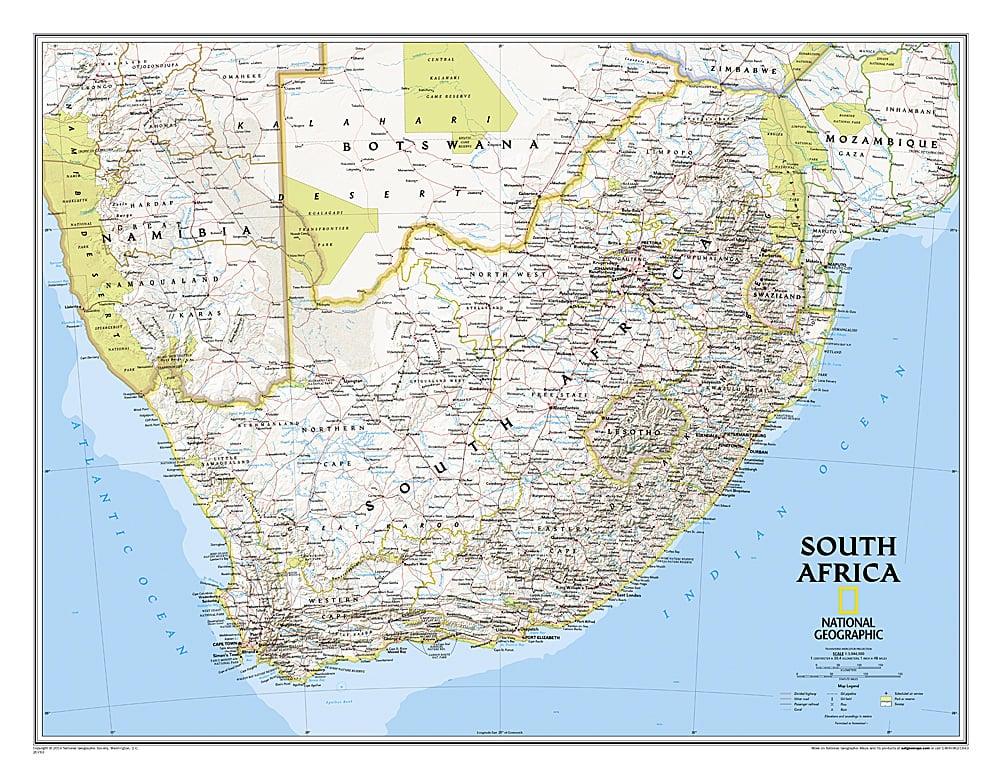 Sydafrika Kort 77 X 66cm Afrika Lande Afrika Vaegkort