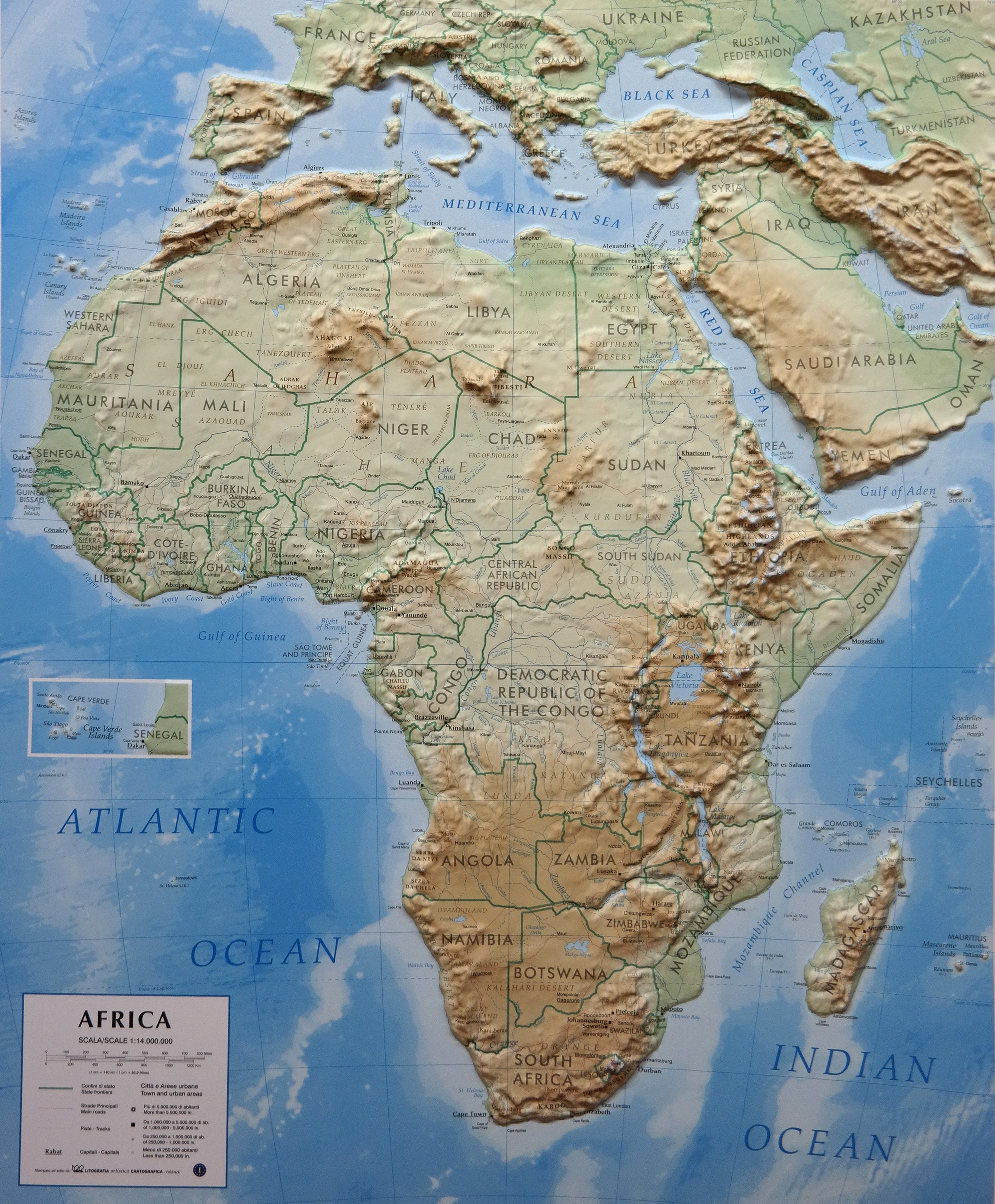 Map Of Africa Map.3d Relief Map Africa