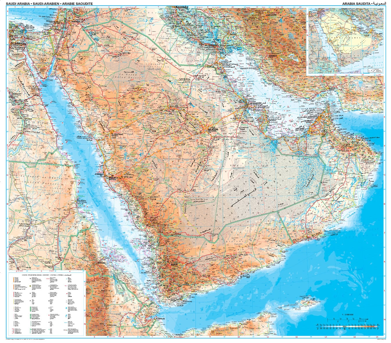 Saudi Arabia Wall Map Asia Countries maps Asia Wall Maps