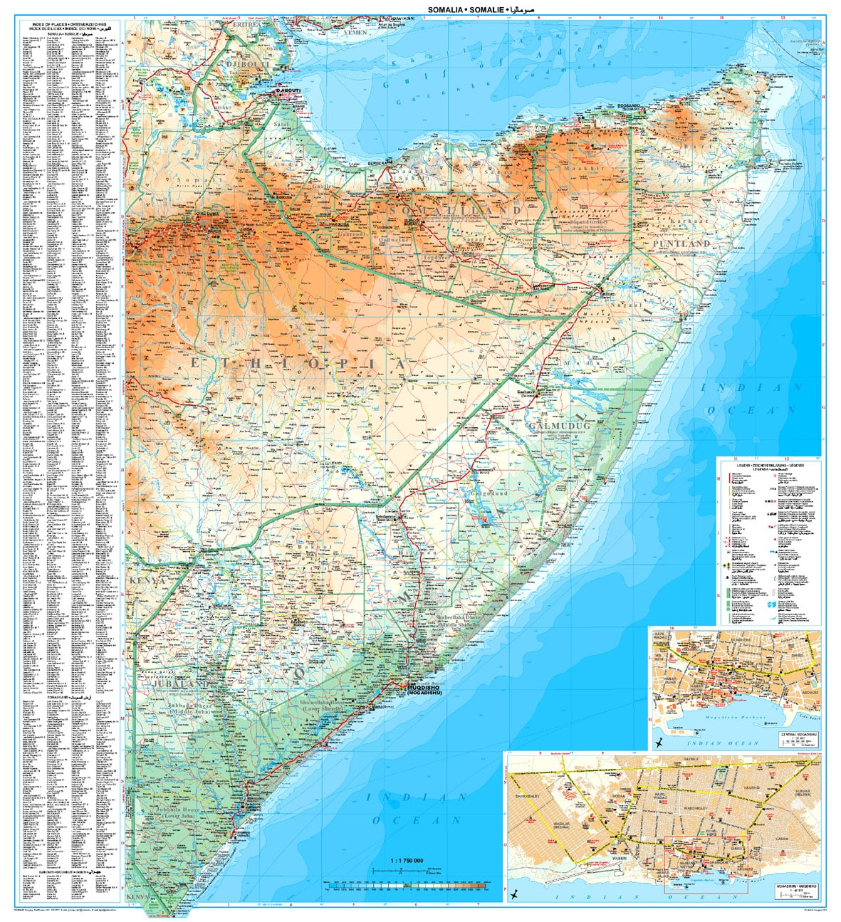 Somalia Wall Map 94 x 86cm