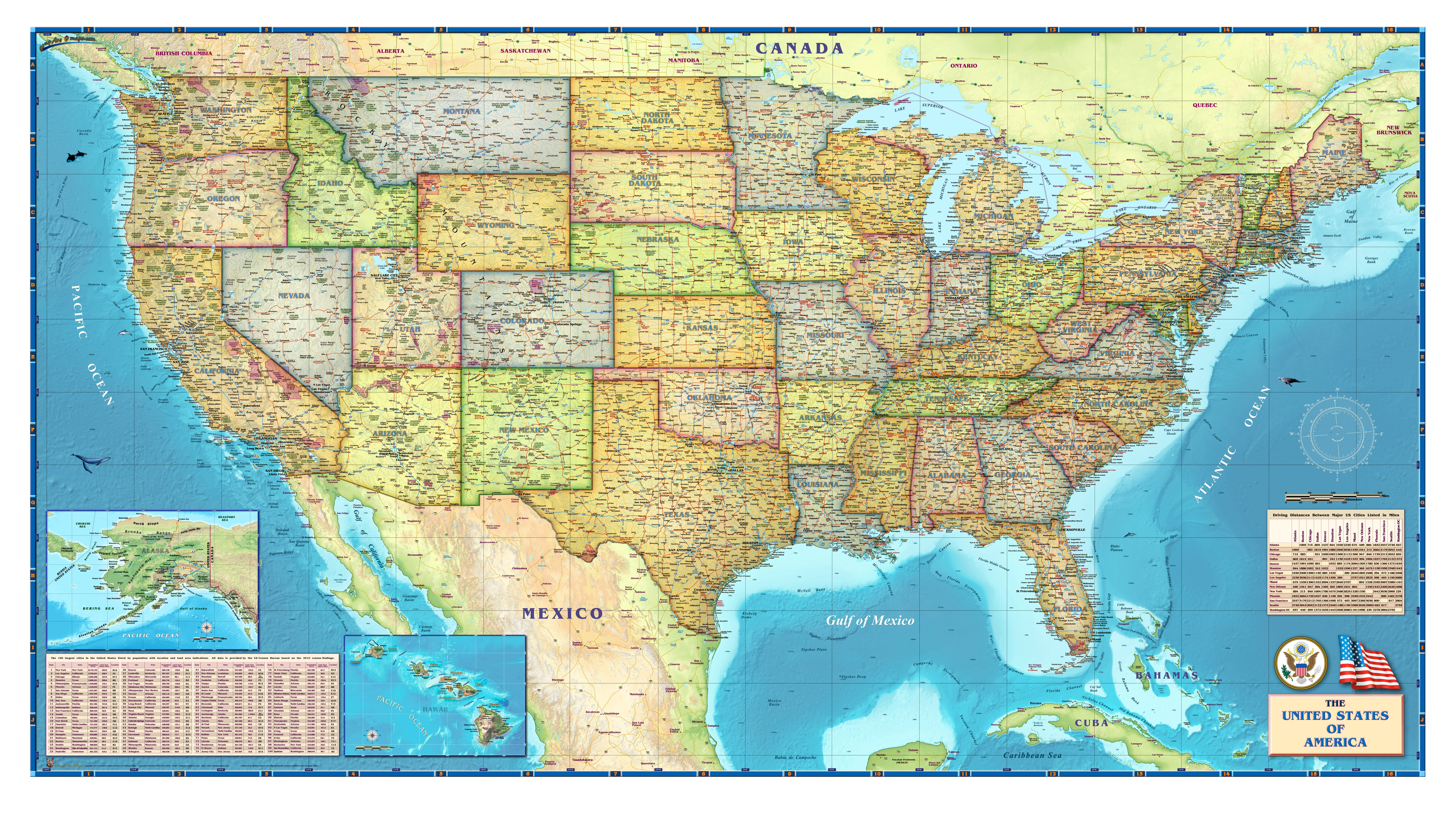 Political USA Wall Map - USA and US States Wall Maps - Northamerica ...