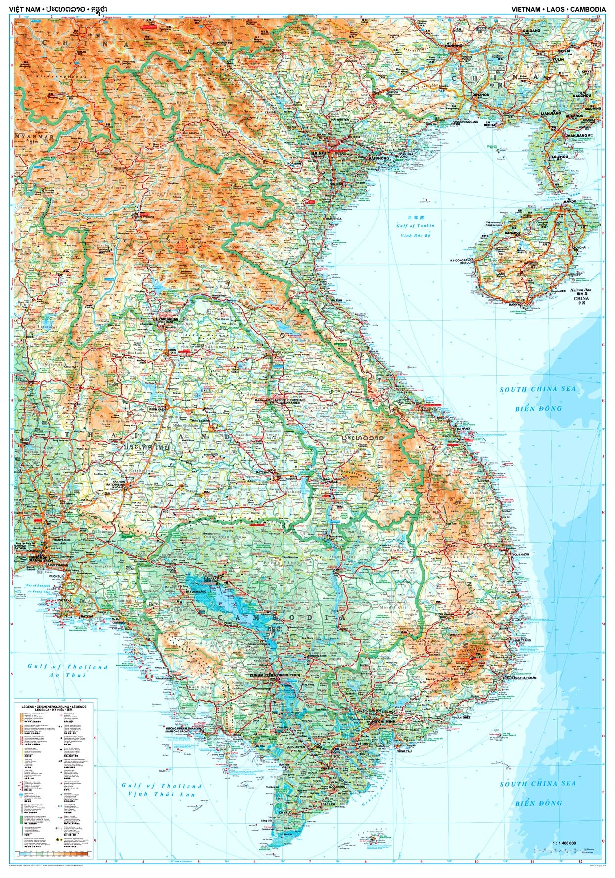 Vietnam Laos And Cambodia Wall Map 87 X 124cm Asia Countries Maps