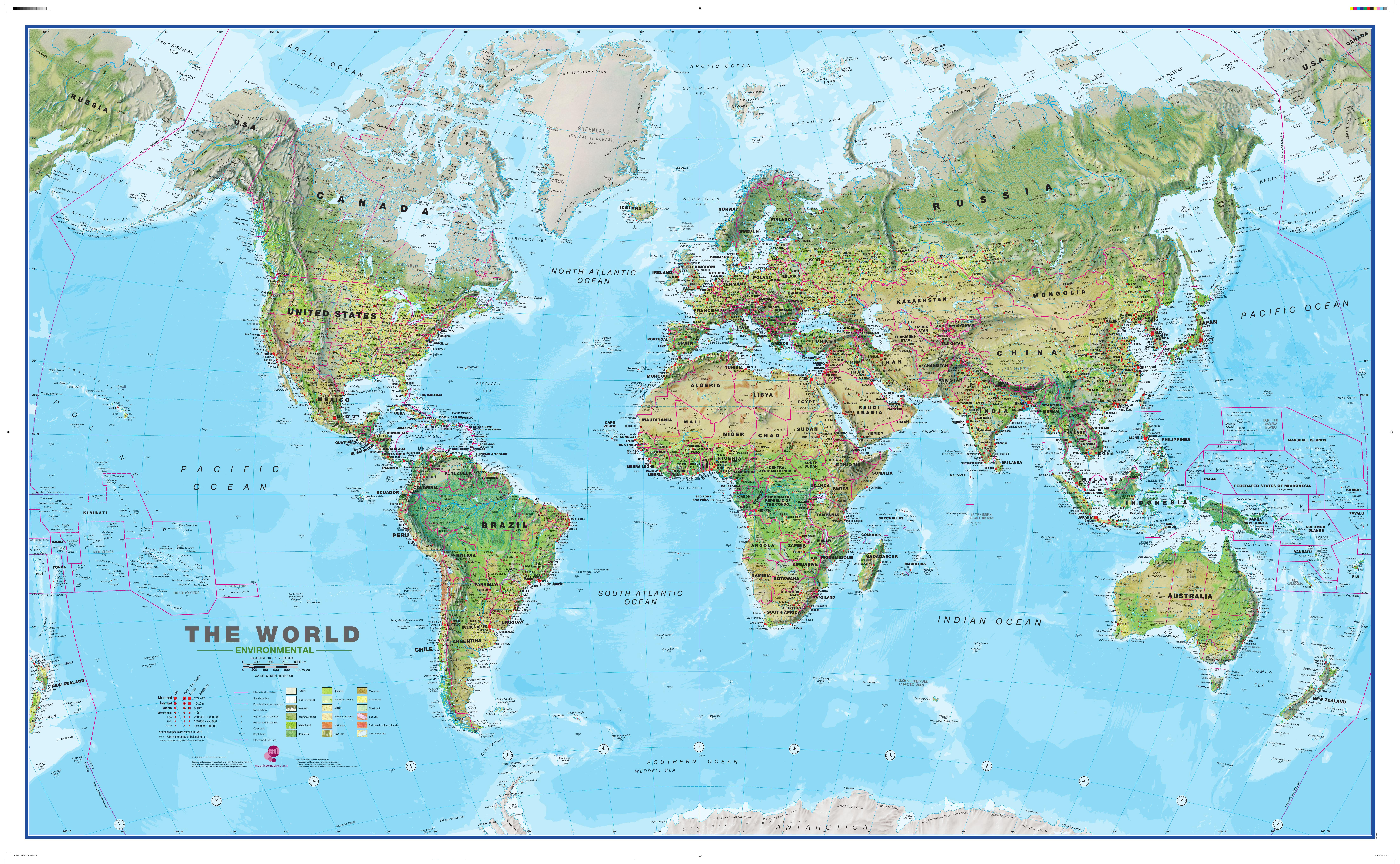 Physical World Map 1:20 Mio 198 x 122cm - Physical World Map - World Map