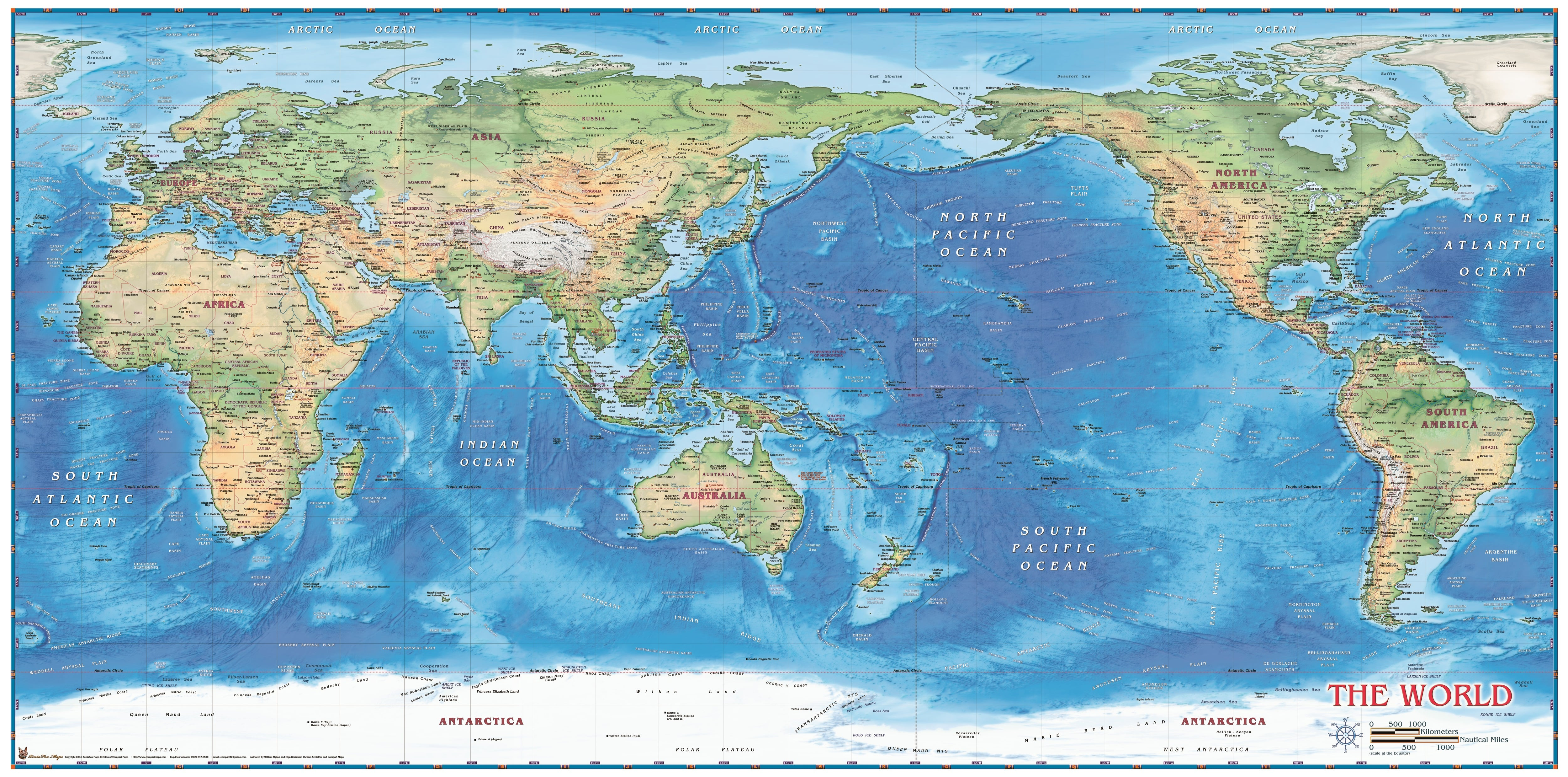 World Map physical Pacific centered