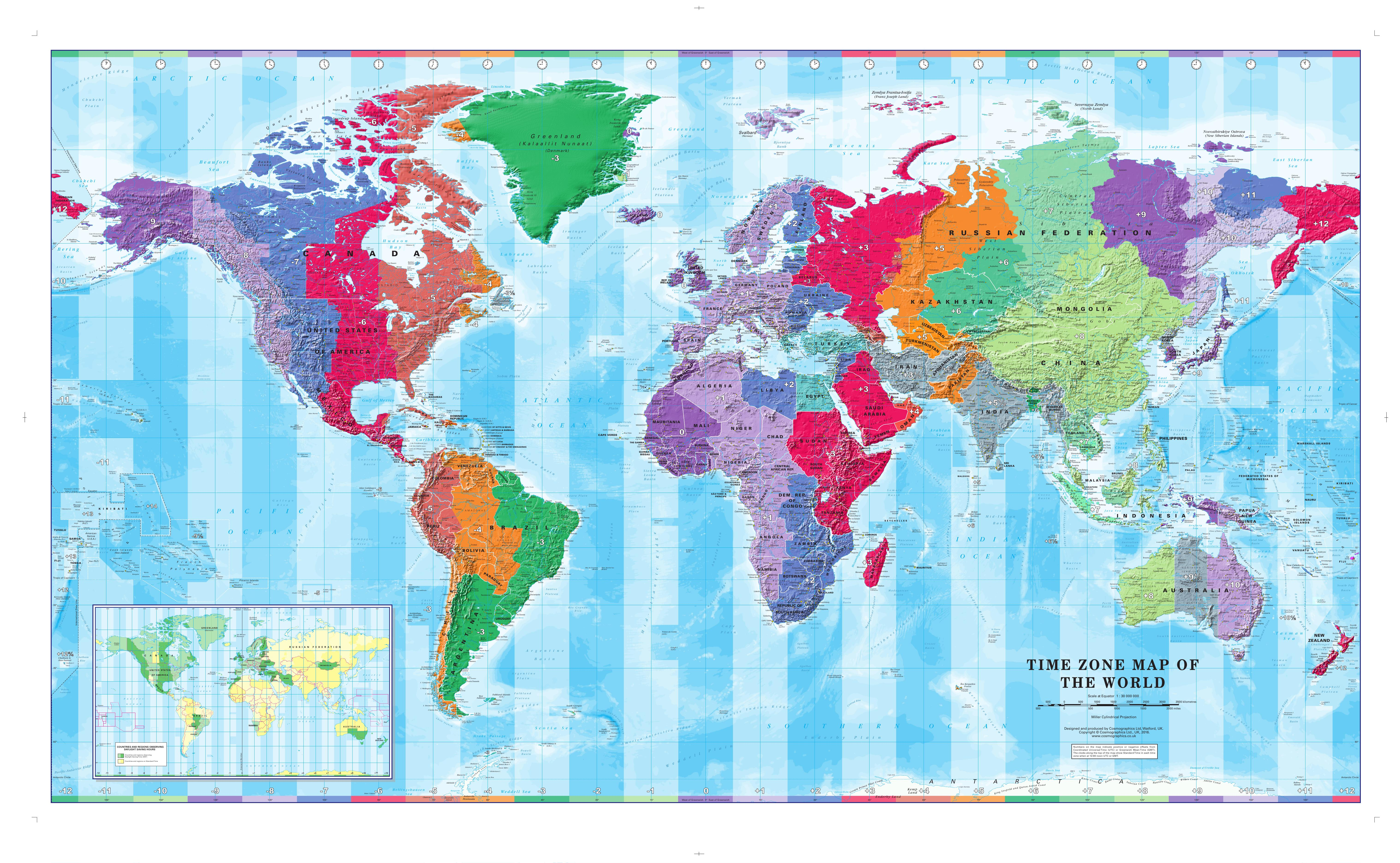 World Map Time Zones 1:30 Mio