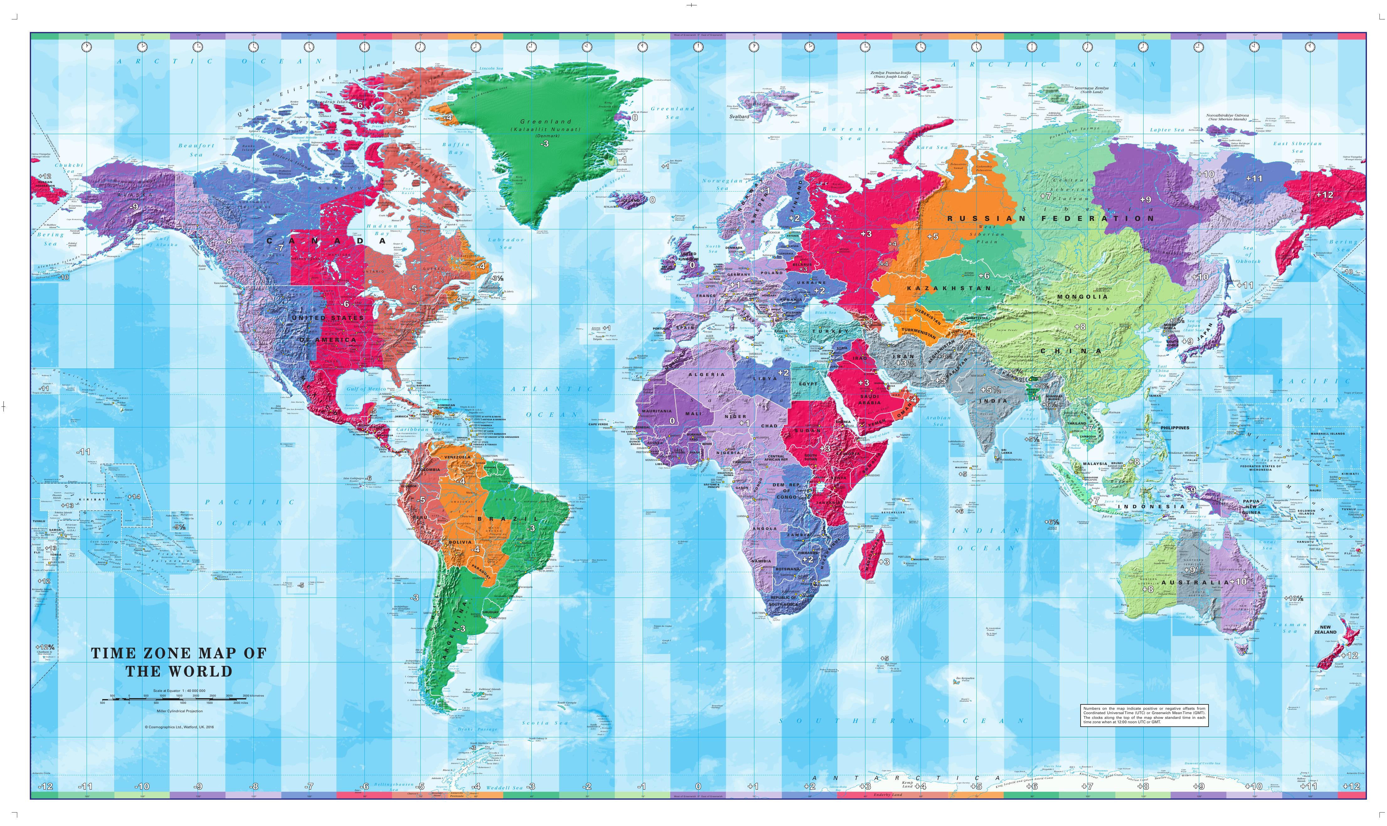 World Map Time Zones 1:40 Mio