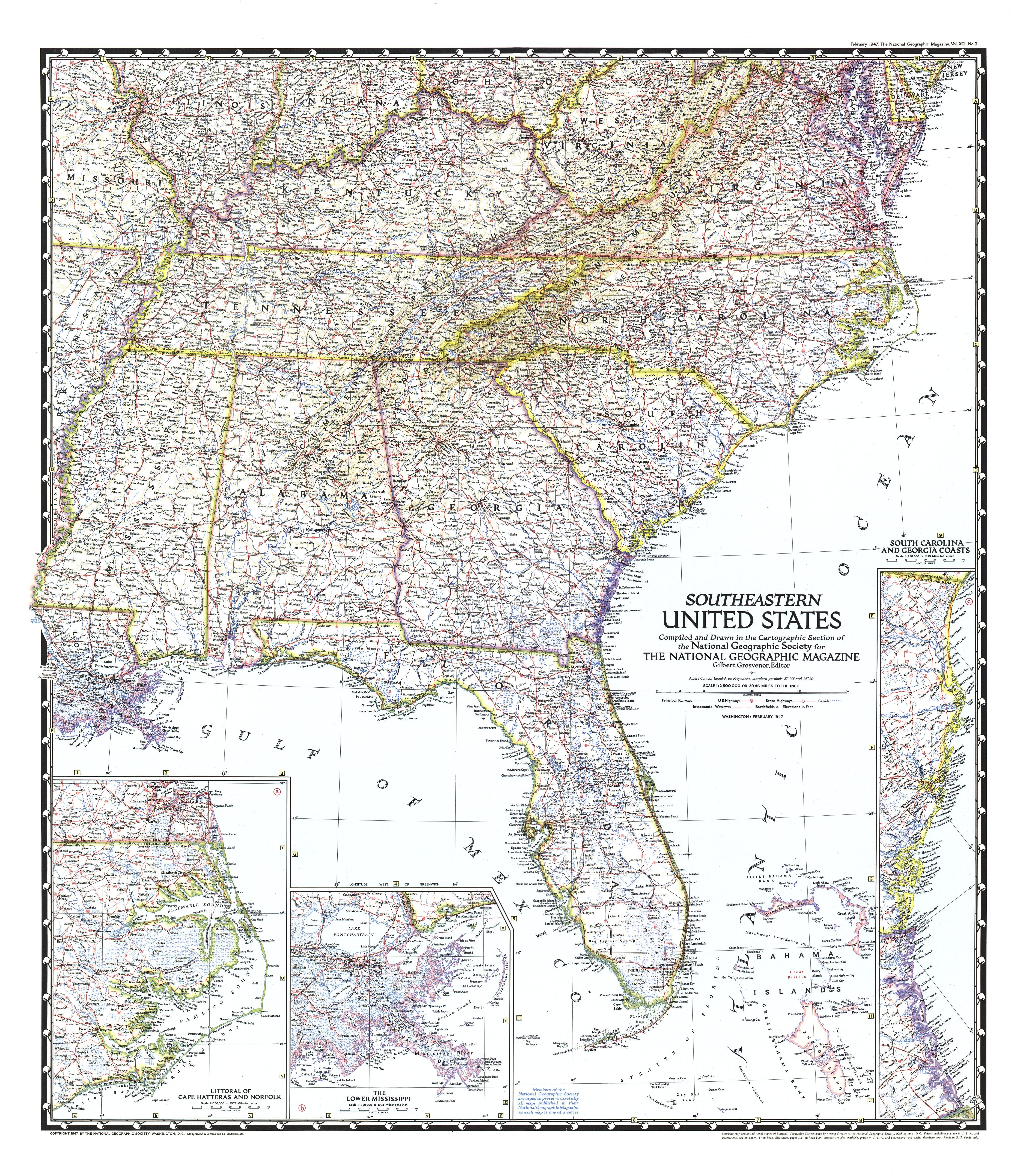 1947 Southeastern United States Map