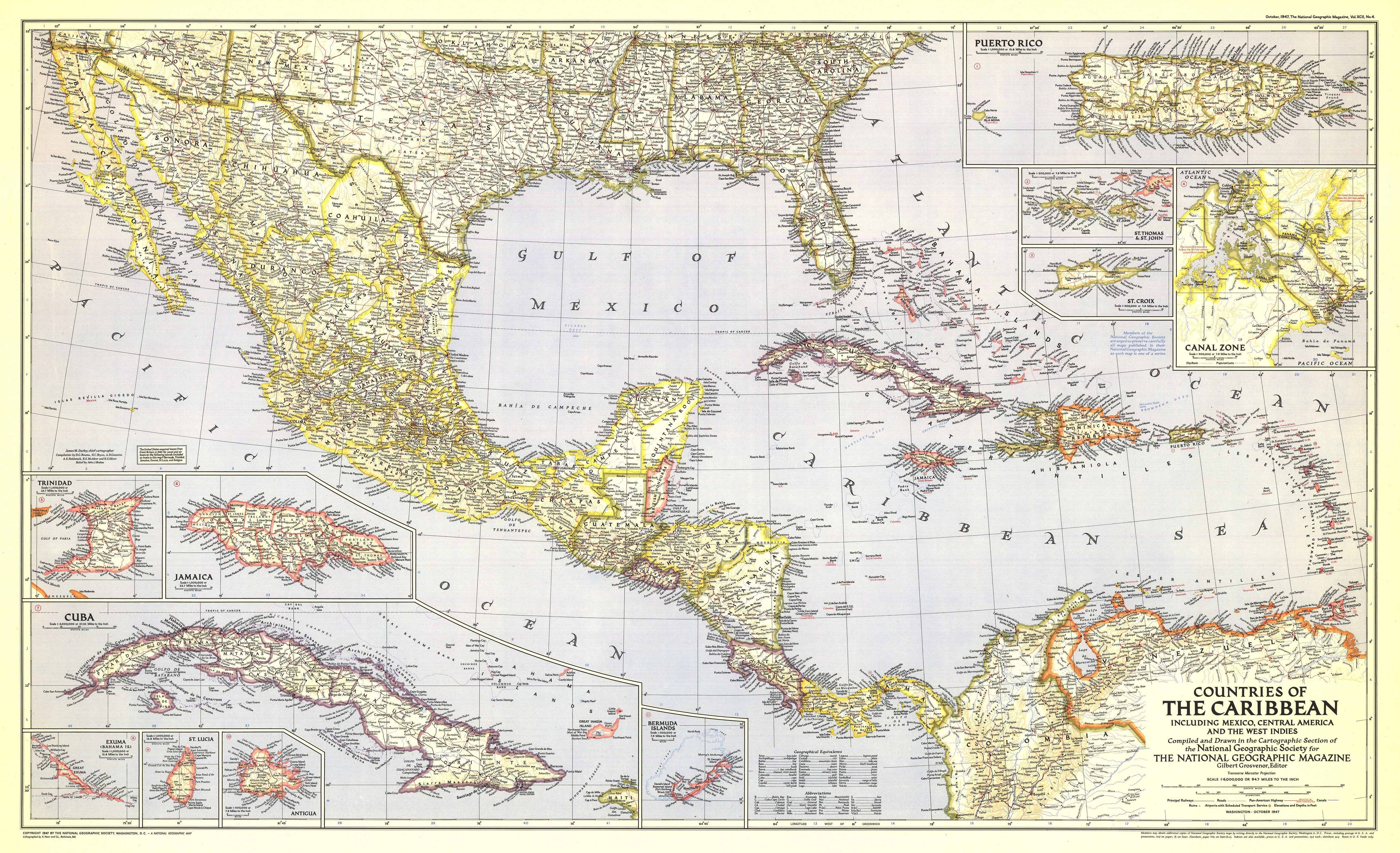 NGS 1947 Countries Of The Caribbean Map Carribbean Map on