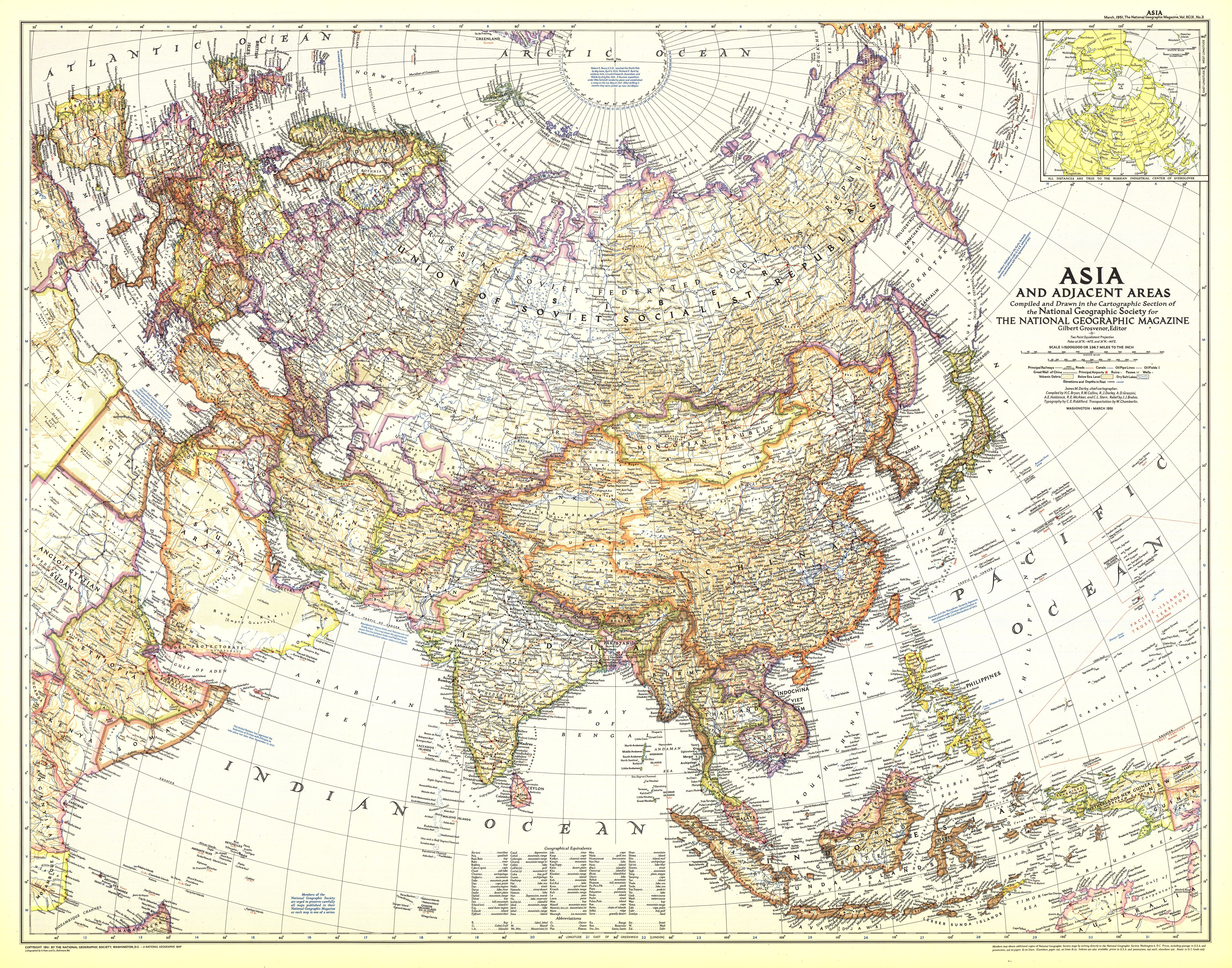 1951 Asia And Adjacent Areas Map