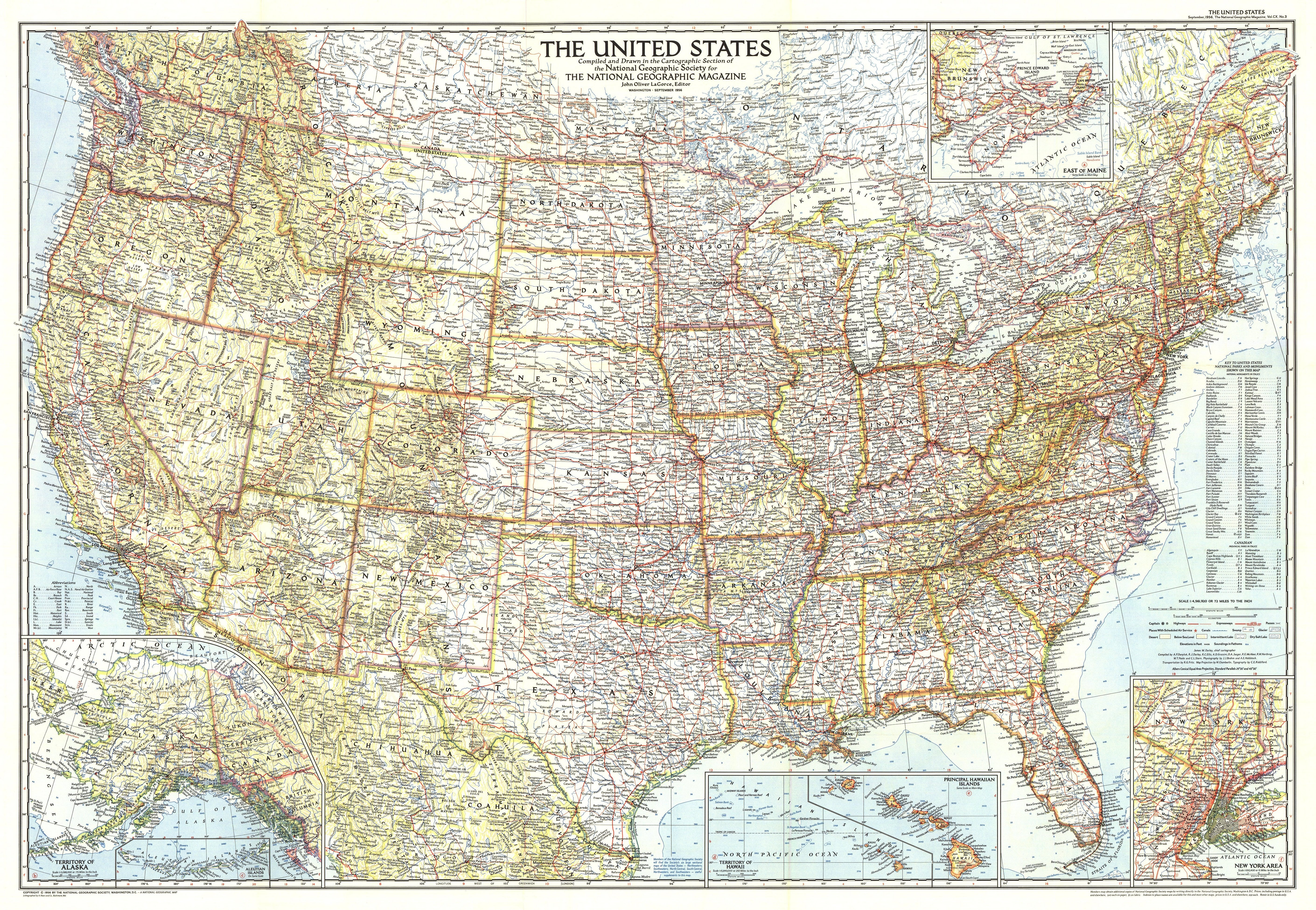 1956 United States Of America Map