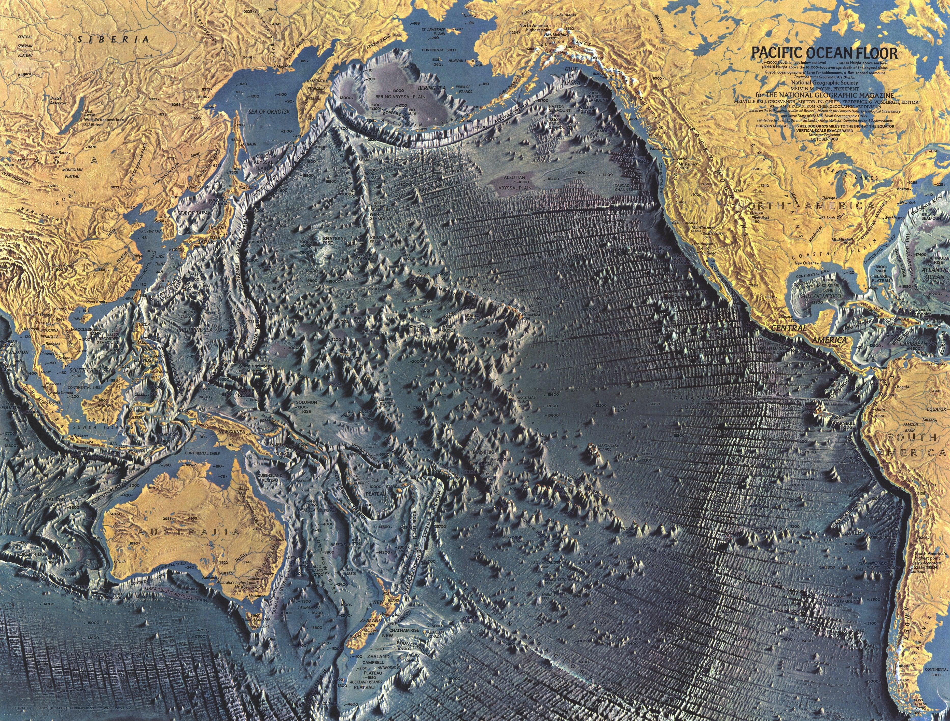 NGS 1969 Pacific Ocean Floor Map