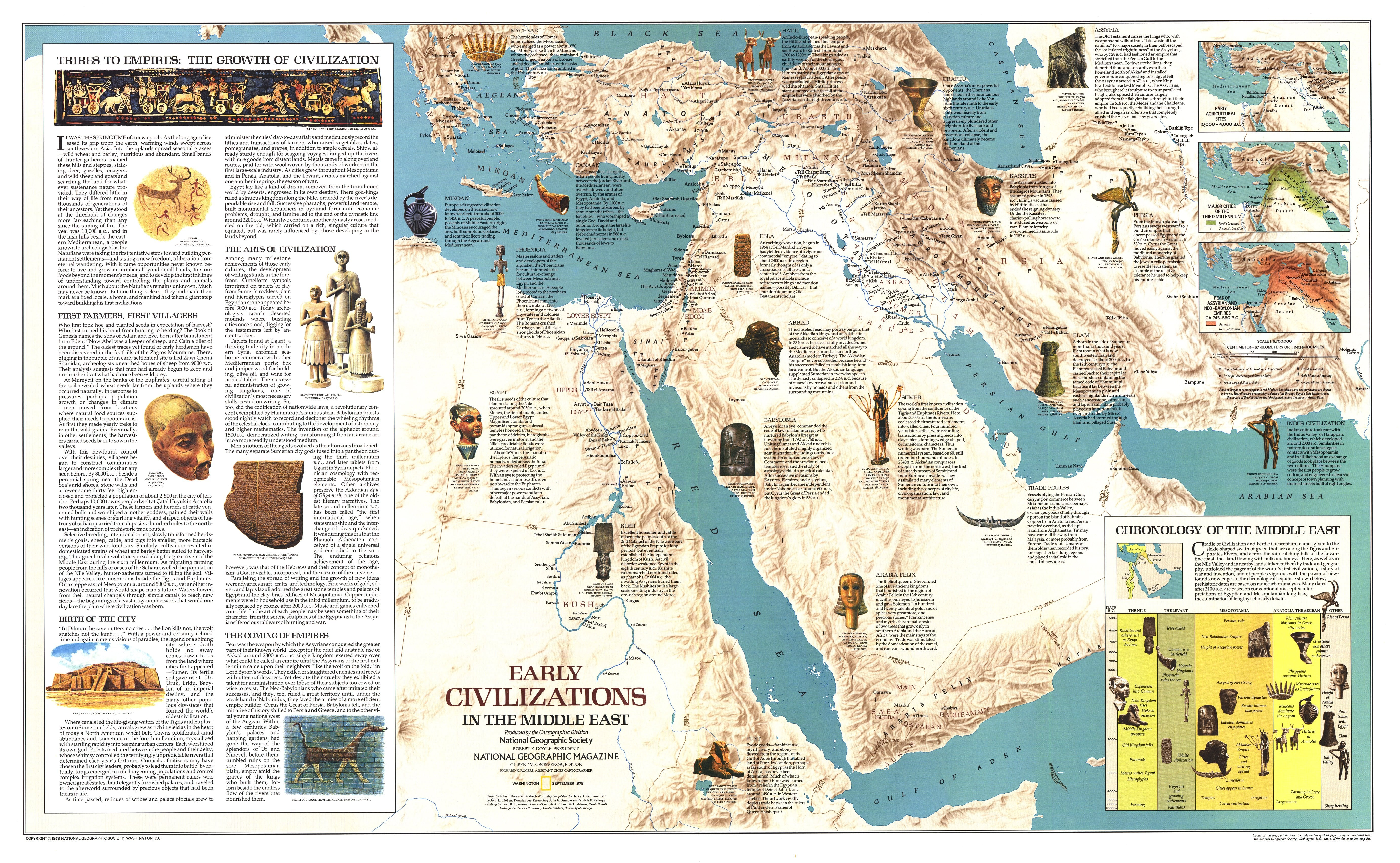 NGS 1978 Early Civilizations In The Middle East Map