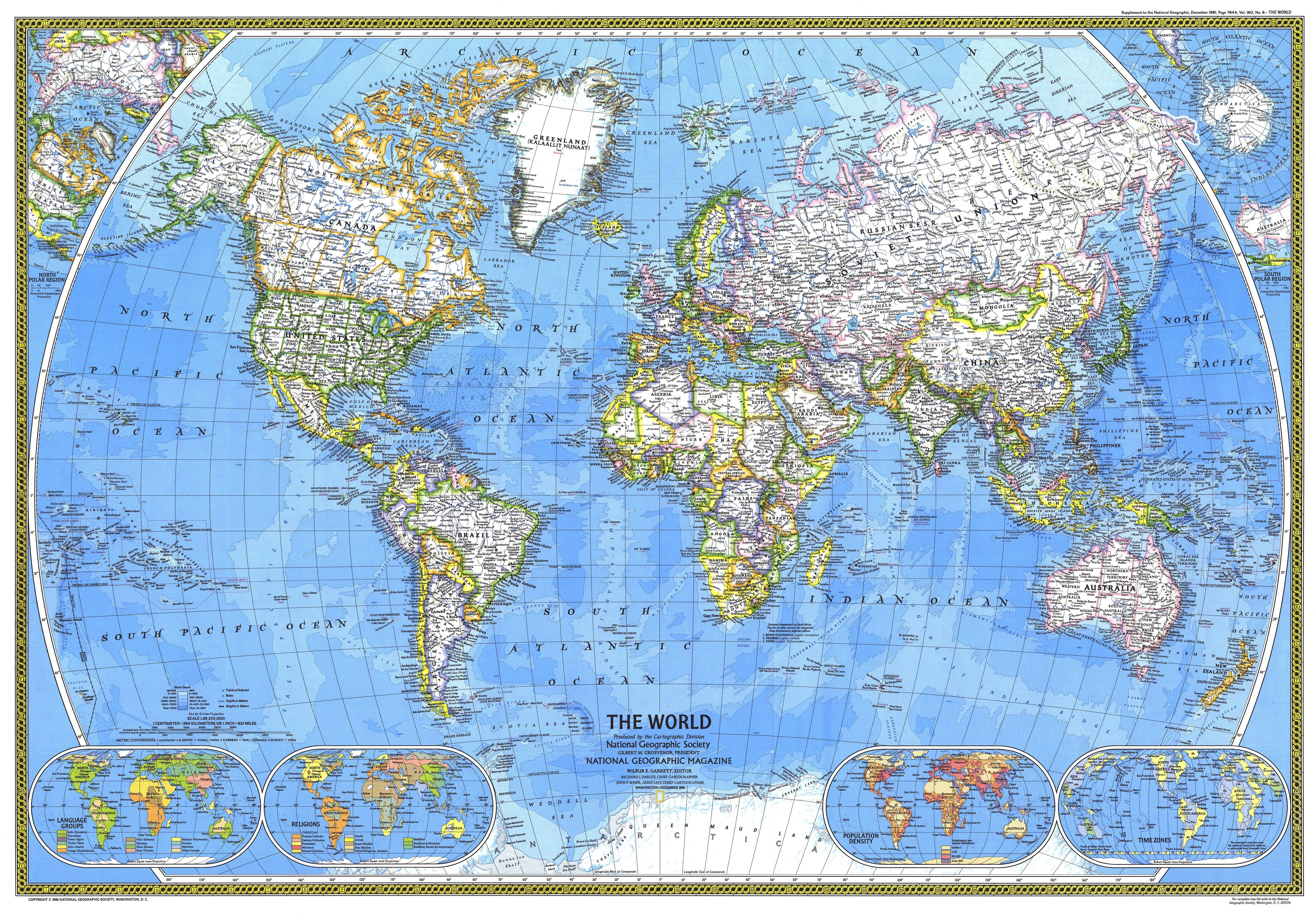 Frameable World Map.Ngs 1981 World Map